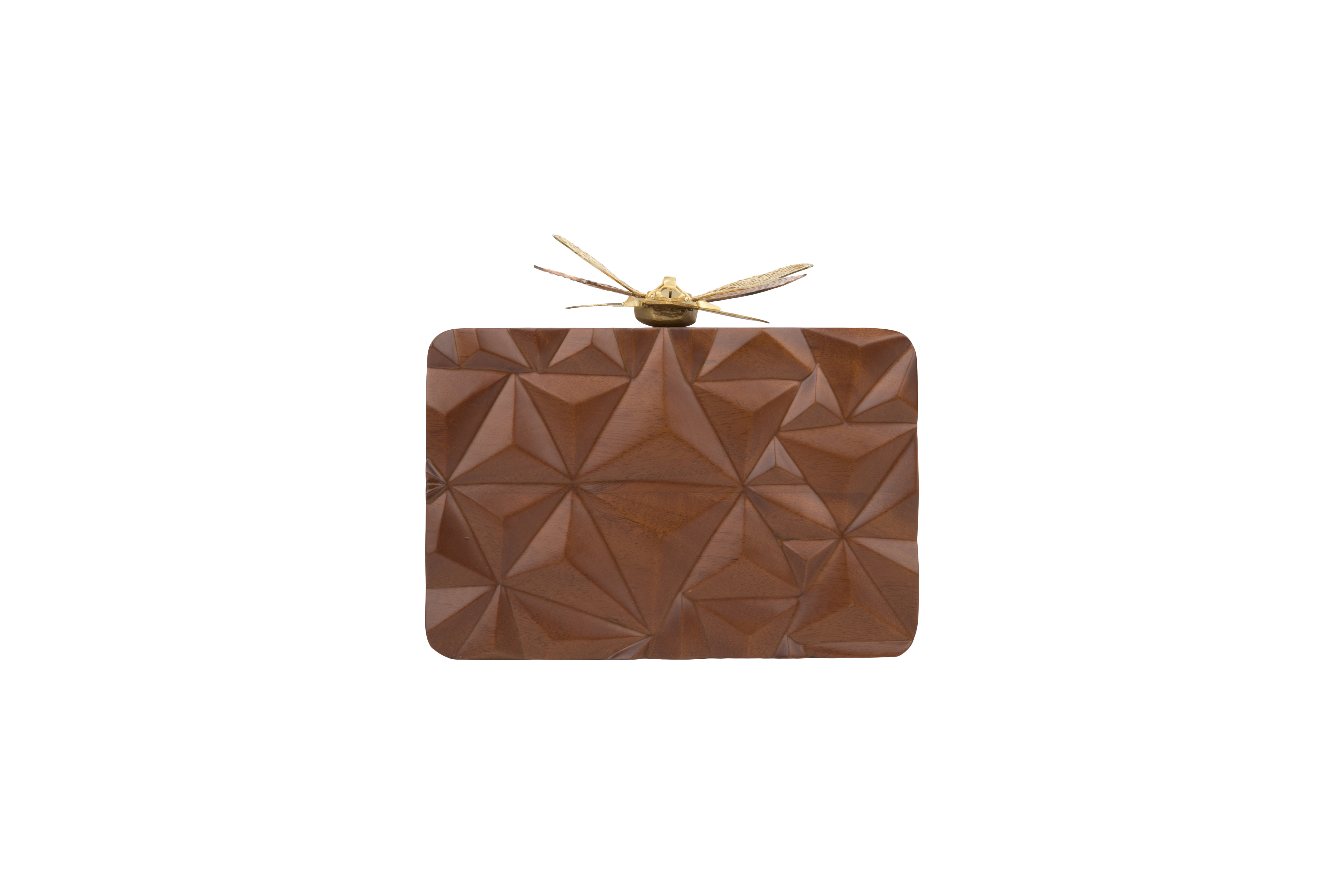 Triangle Wooden Dragonfly Clutch by Duet Luxury on curated-crowd.com