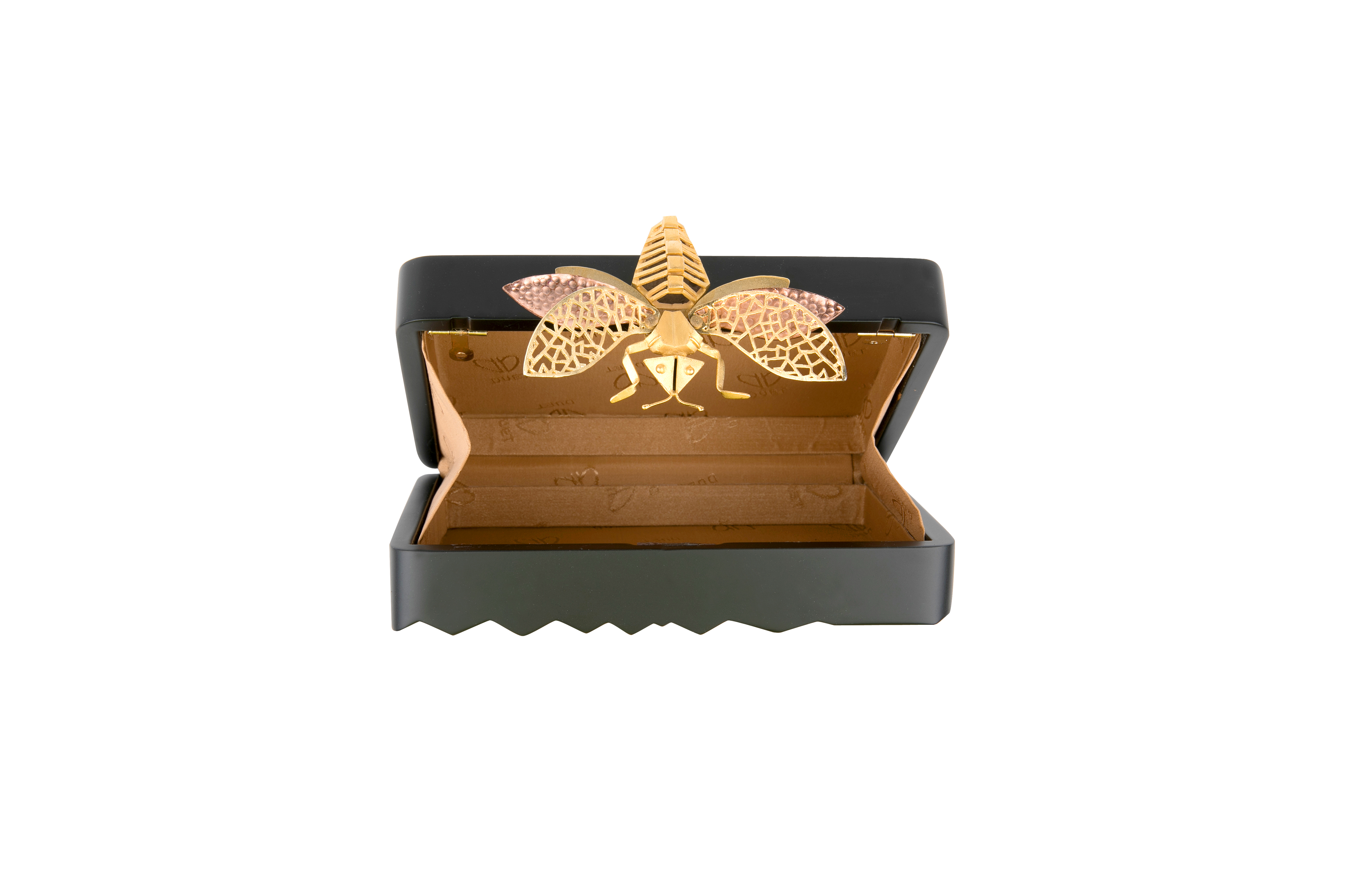 Triangle Black Dragonfly Clutch by Duet Luxury on curated-crowd.com