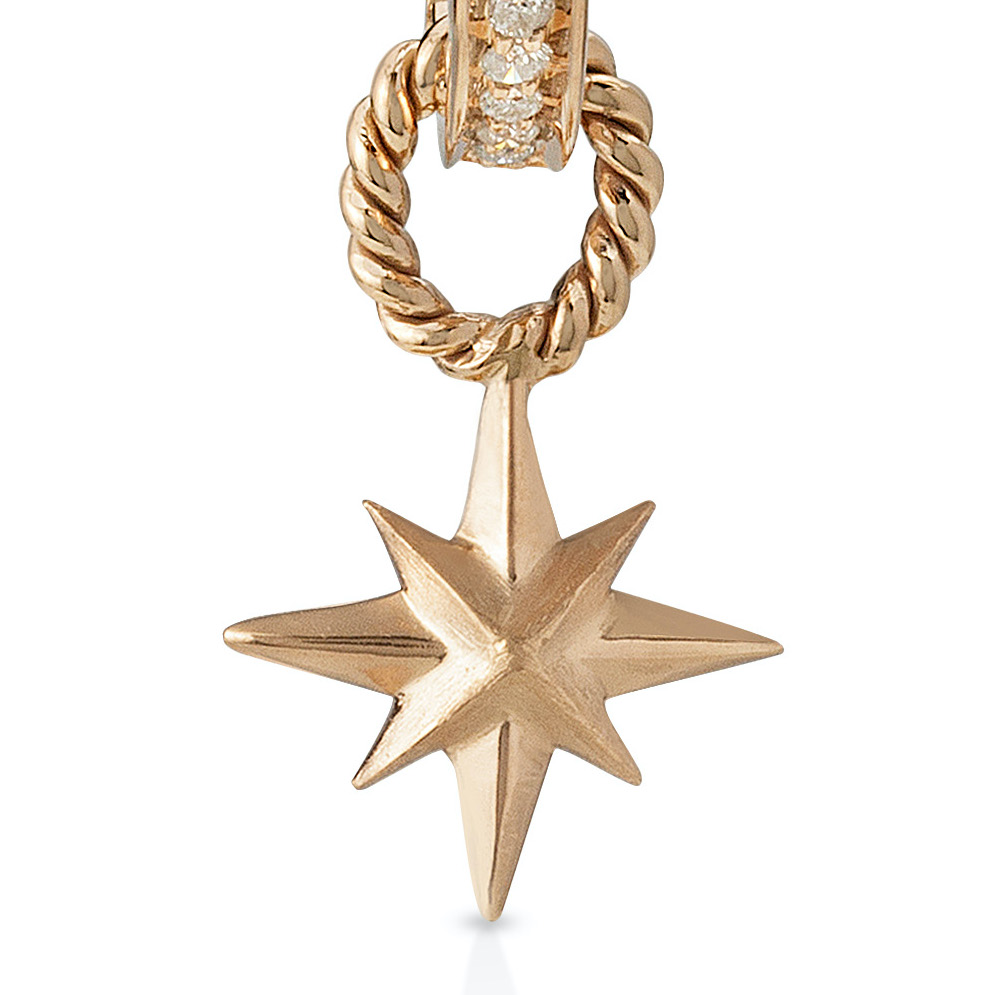 Single Diamond Hoops with Detachable Star Charm/ Pendant- 18K Gold by Aveen on curated-crowd.com