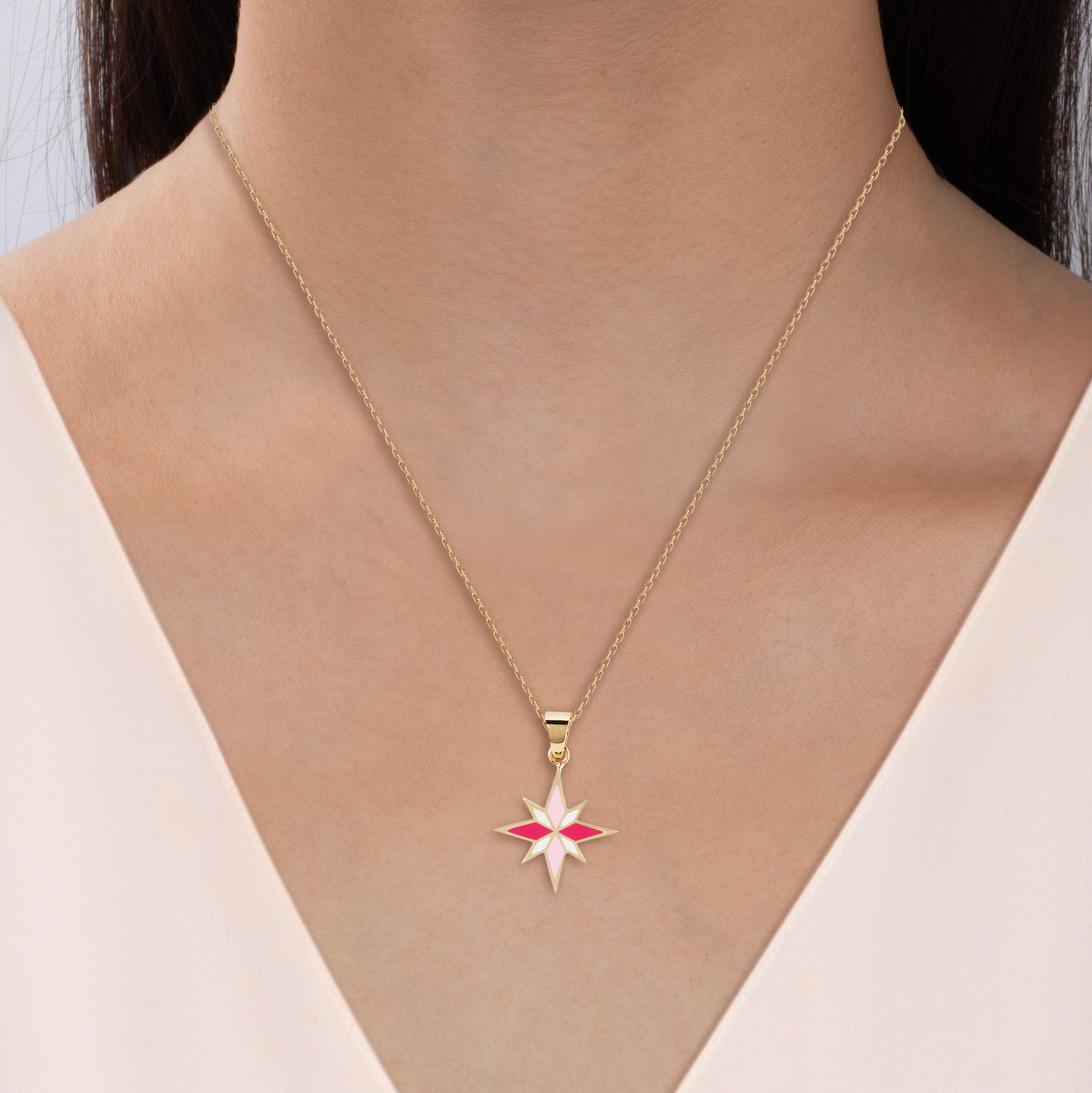 Sirius Necklace - Pink - 18K Yellow Gold by Aveen on curated-crowd.com