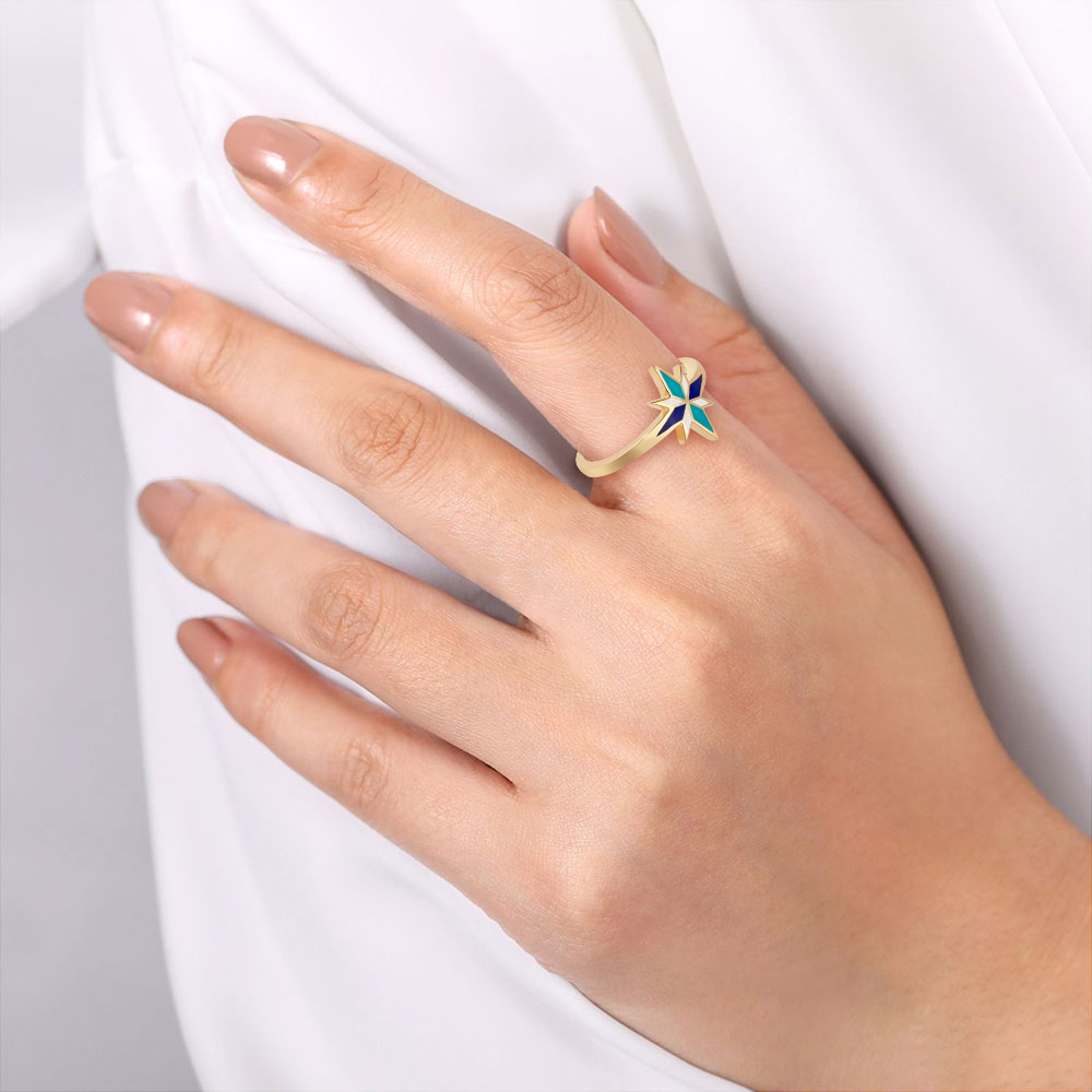 Blue Enamel Sirius Ring by Aveen on curated-crowd.com