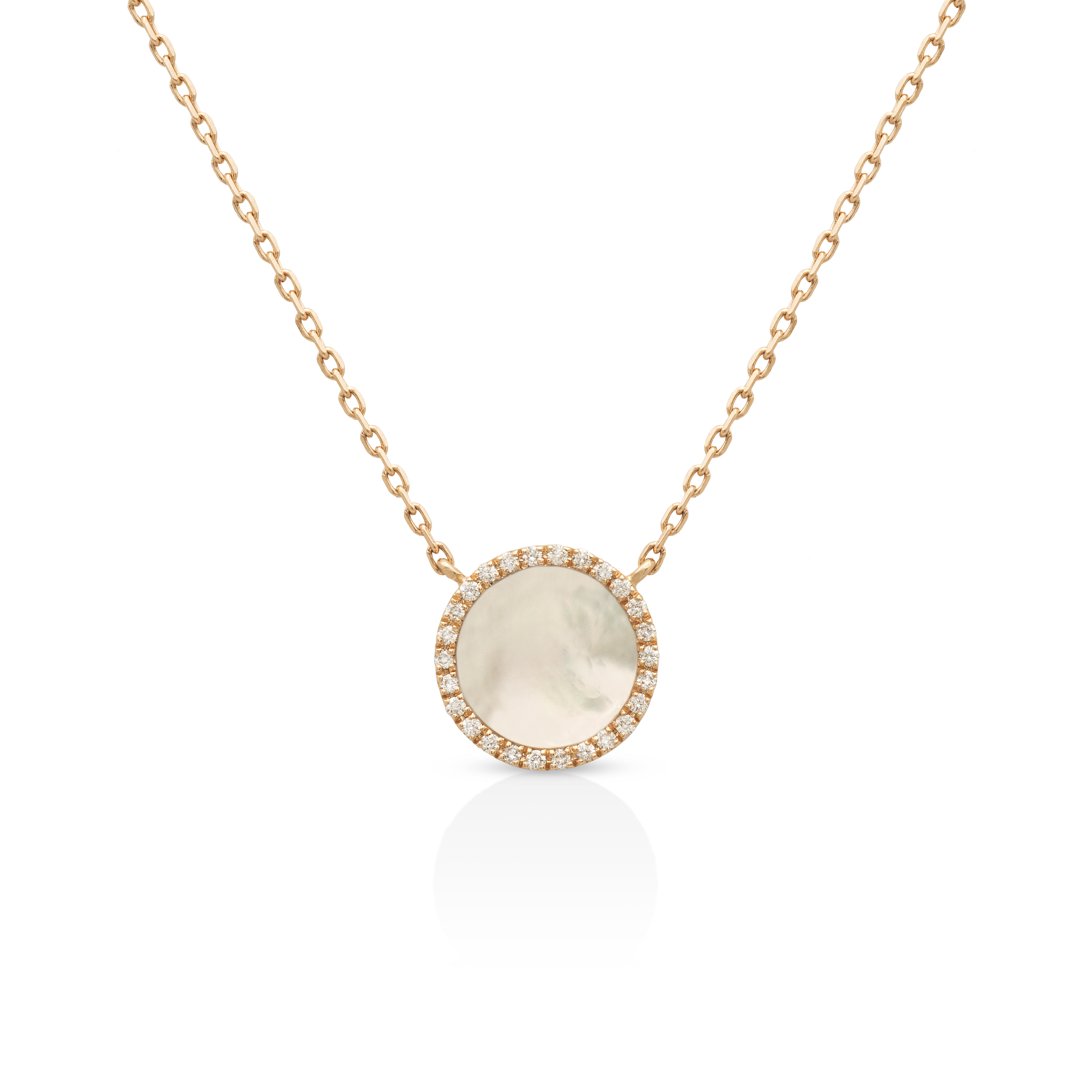 Bellatrix Diamond and Mother of Pearl Necklace - 18K Rose Gold by Aveen on curated-crowd.com