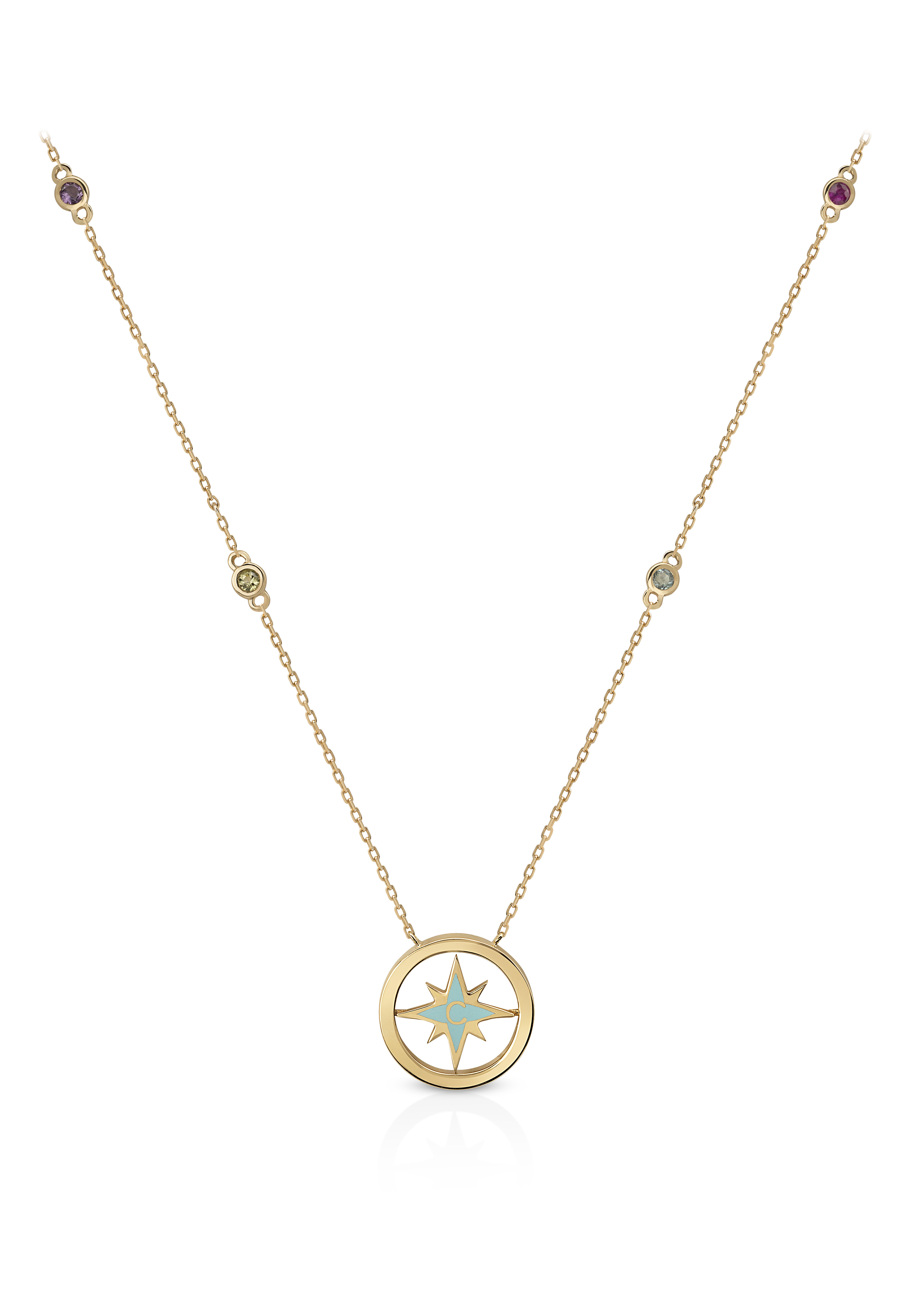 Nova Rainbow Necklace- Multi-Stone,18K Yellow Gold by Aveen on curated-crowd.com