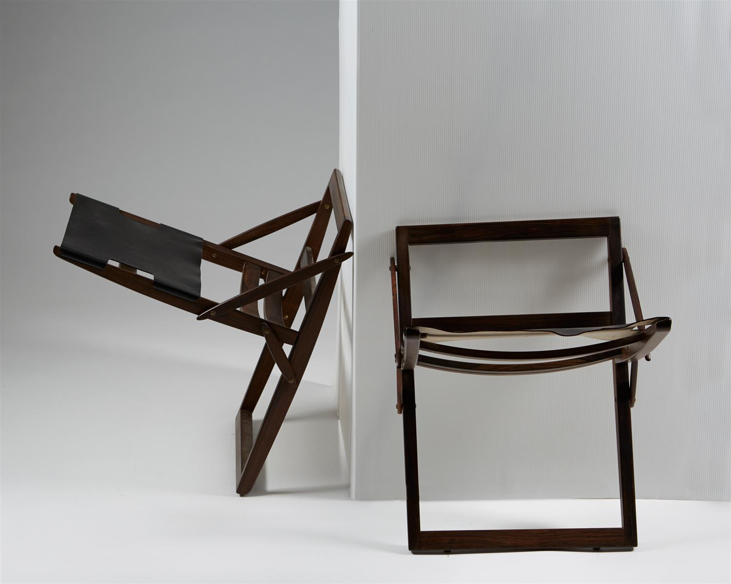 Pair of Folding Stools, designed by Peter Hvidt and Orla Mölgaard Nielsen for Ludvig Pontoppidan, Denmark. 1959. by Modernity on curated-crowd.com