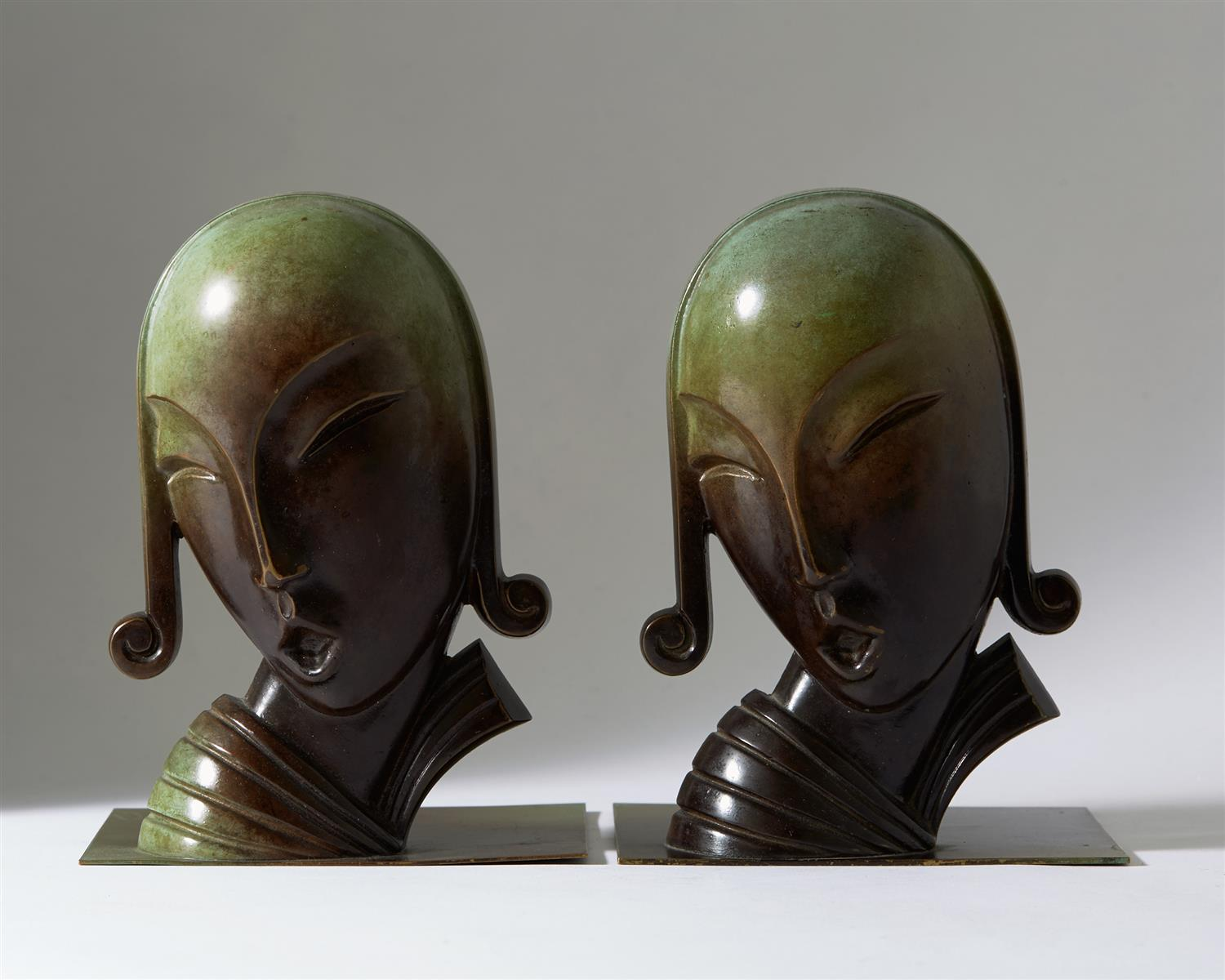 Book Ends, designed by CE Borgström for Ystad Metall AB, Sweden. 1930's. by Modernity on curated-crowd.com