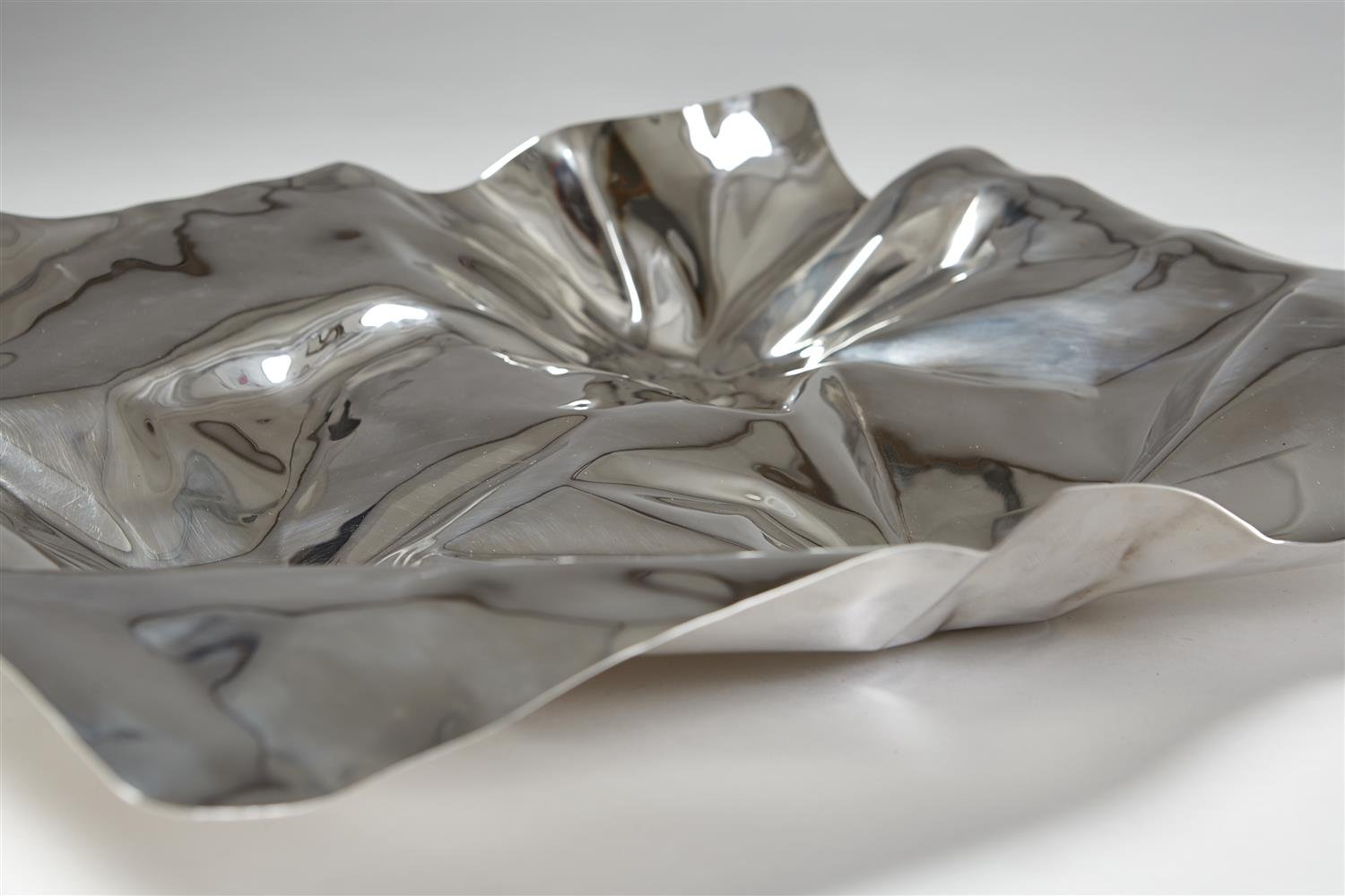 Silver Dish designed by Verner Panton for Georg Jensen, Denmark. 1990's. by Modernity on curated-crowd.com