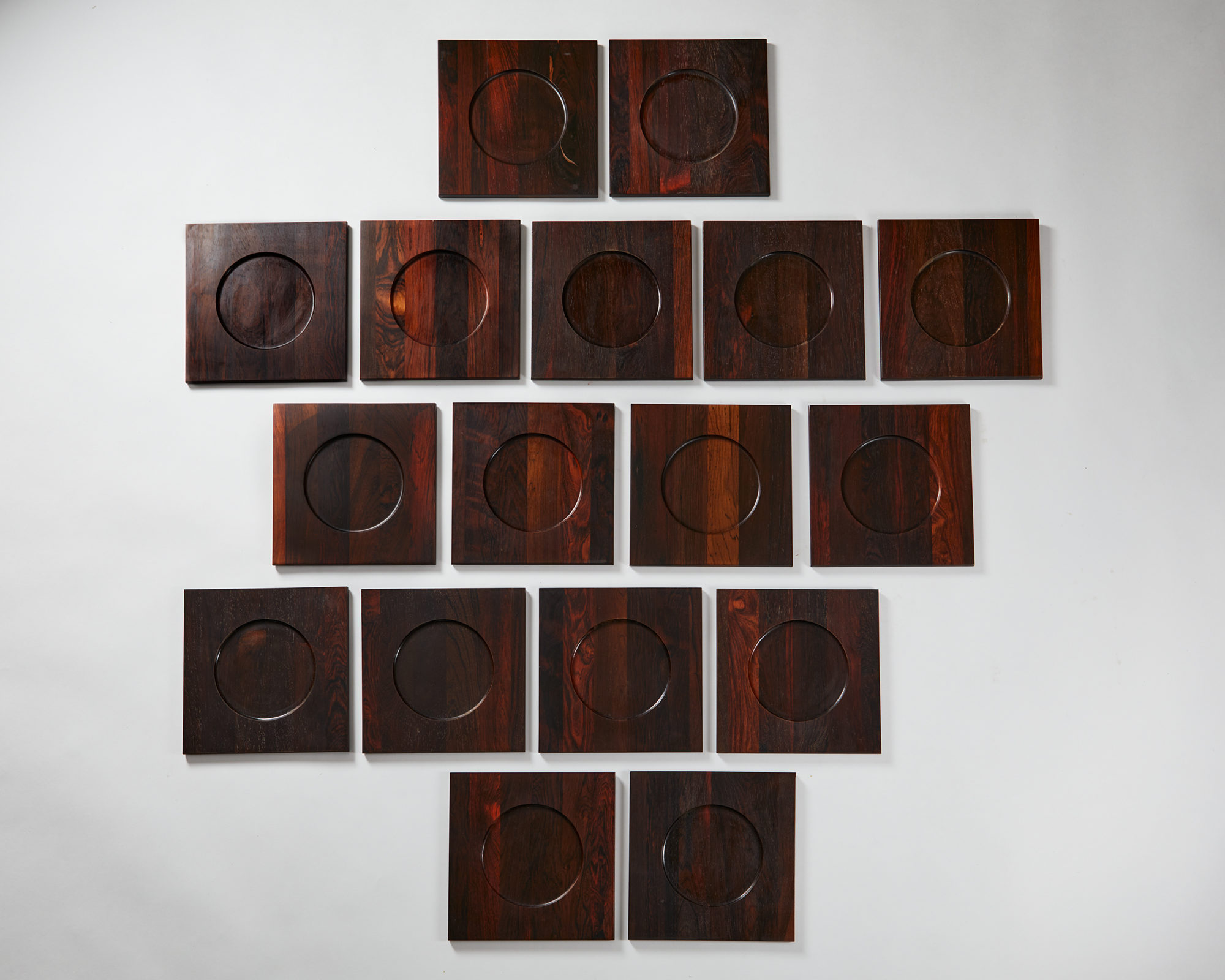 Set of 17 Underplates, Anonymous for Woodline, Denmark. 1960's. by Modernity on curated-crowd.com