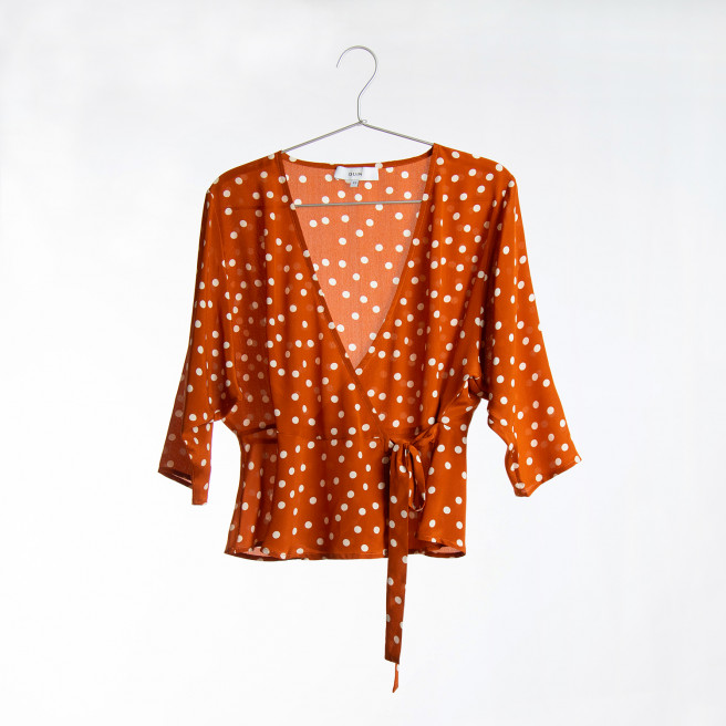 Caroline Silk Wrap Top by Quin on curated-crowd.com