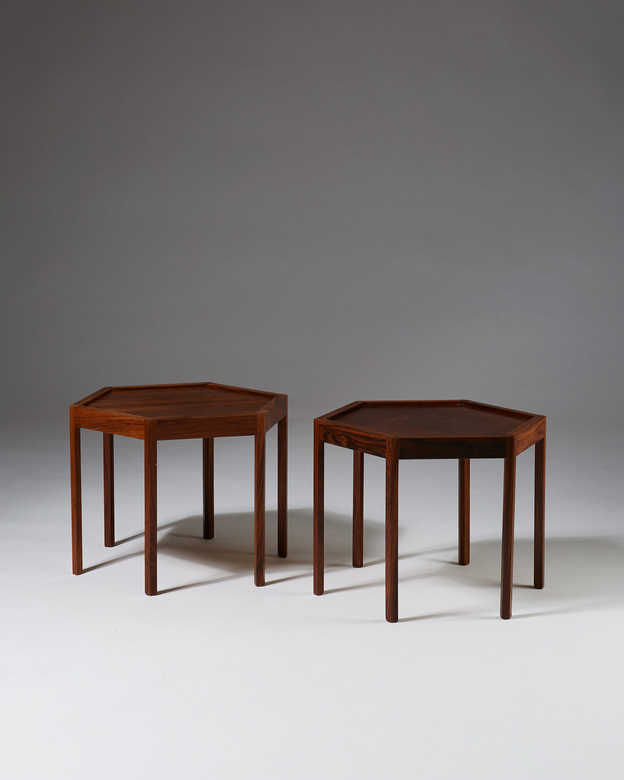 Pair of Hexagonal Sidetables designed by Hans C. Andersen, Denmark. 1960's. by Modernity on curated-crowd.com