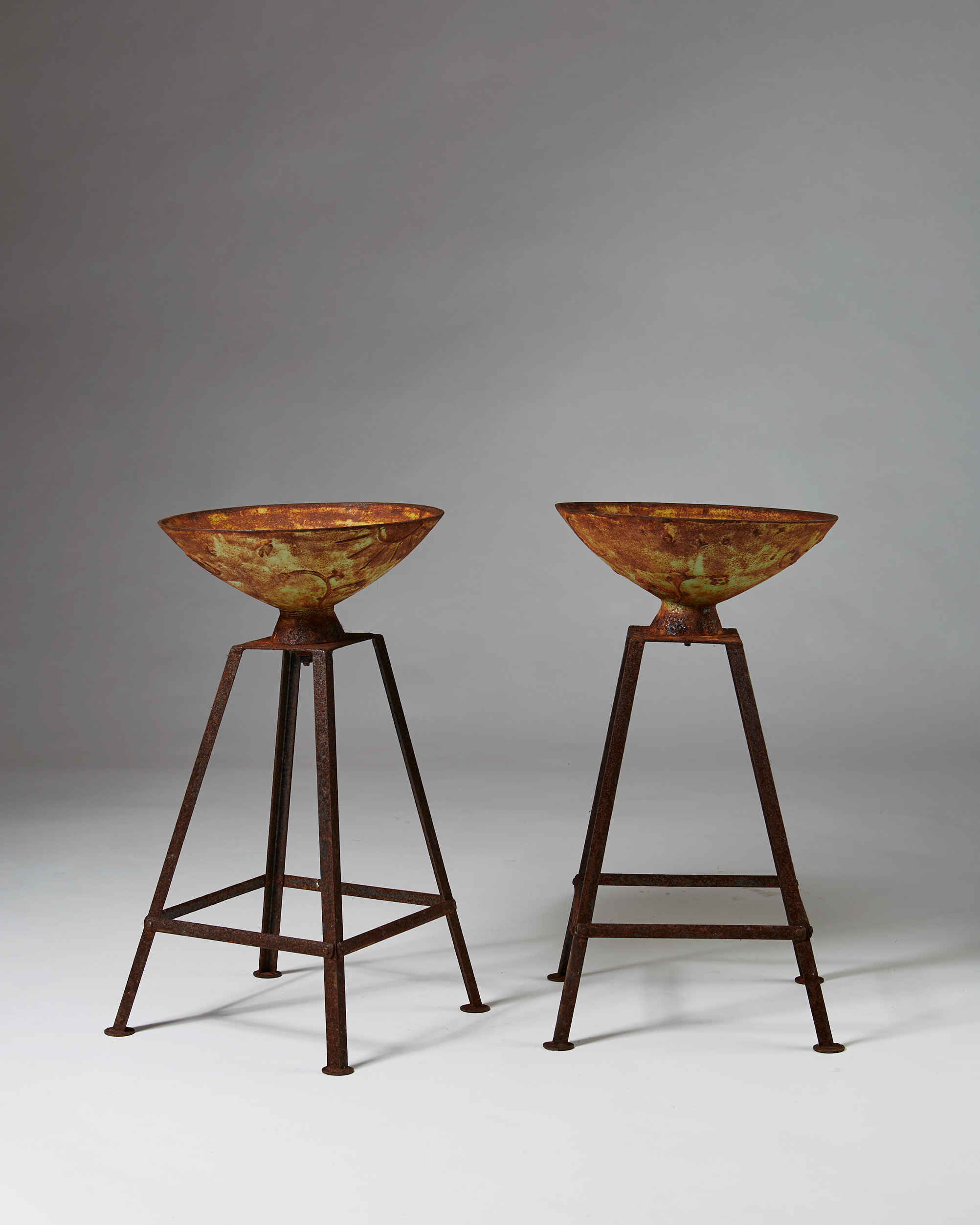 Pair of Planters 'Mikrokosmos' designed by Olof Hult för Näfveqvarns Bruk, Sweden. 1922. by Modernity on curated-crowd.com