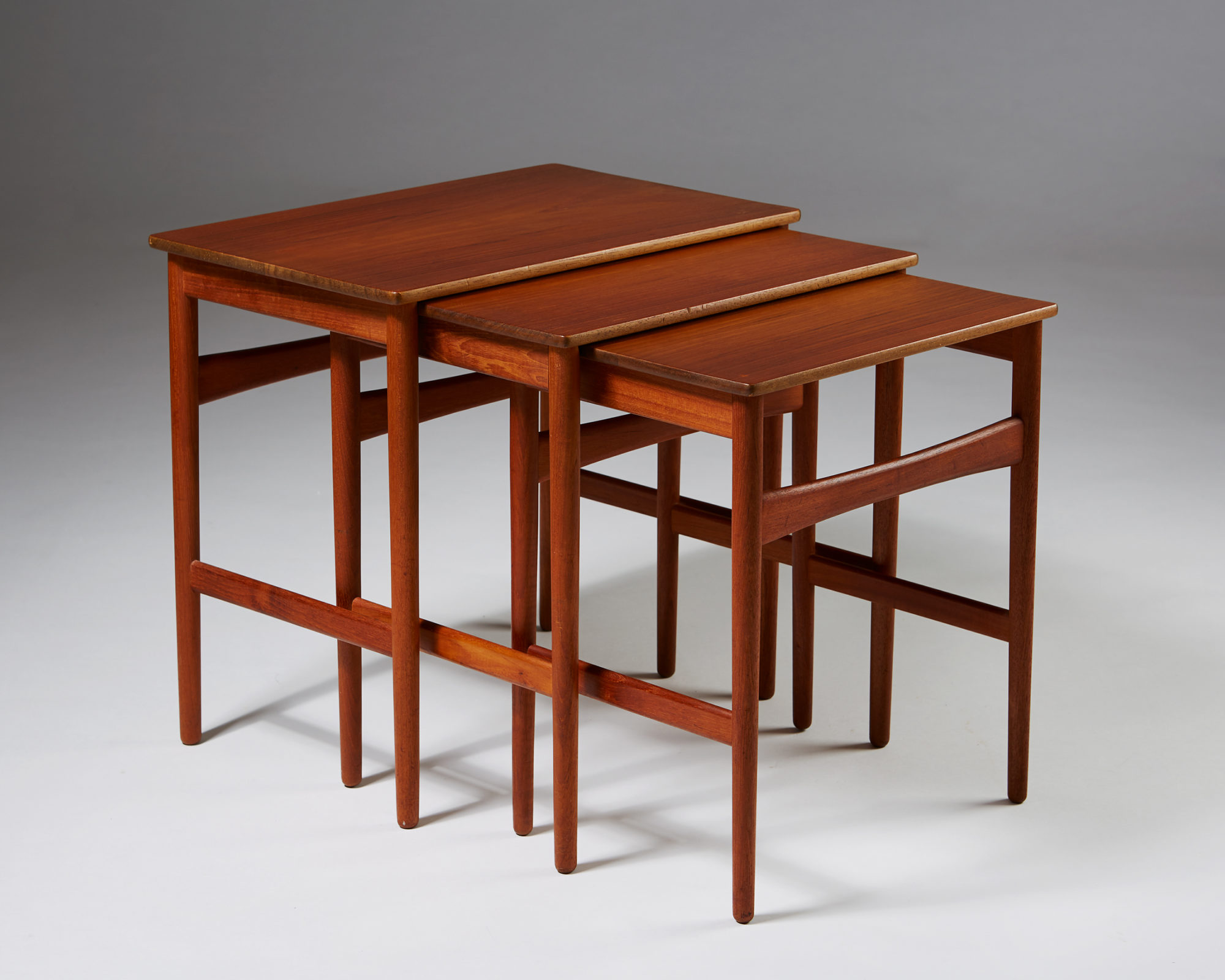 Nest of Tables designed by Hans J. Wegner for Andreas Tuck, Denmark. 1950's. by Modernity on curated-crowd.com