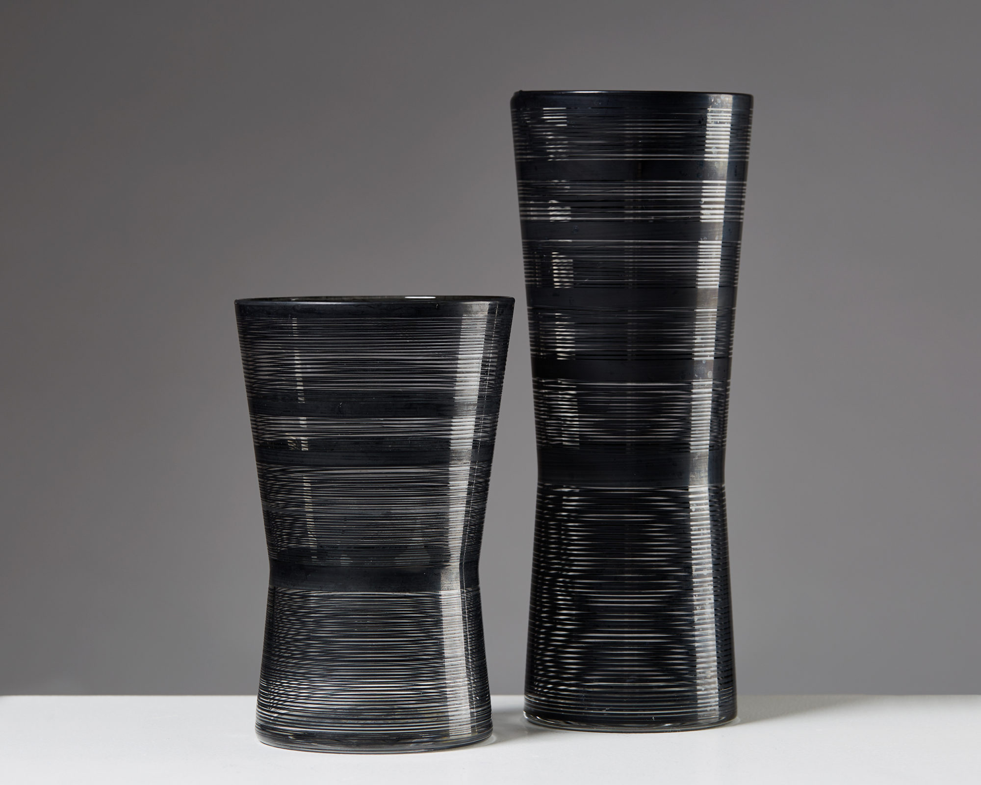 """Pair of Vases """"Zwizz"""" designed by Ingegerd Råman for Orrefors, Sweden. 2000's. by Modernity on curated-crowd.com"""