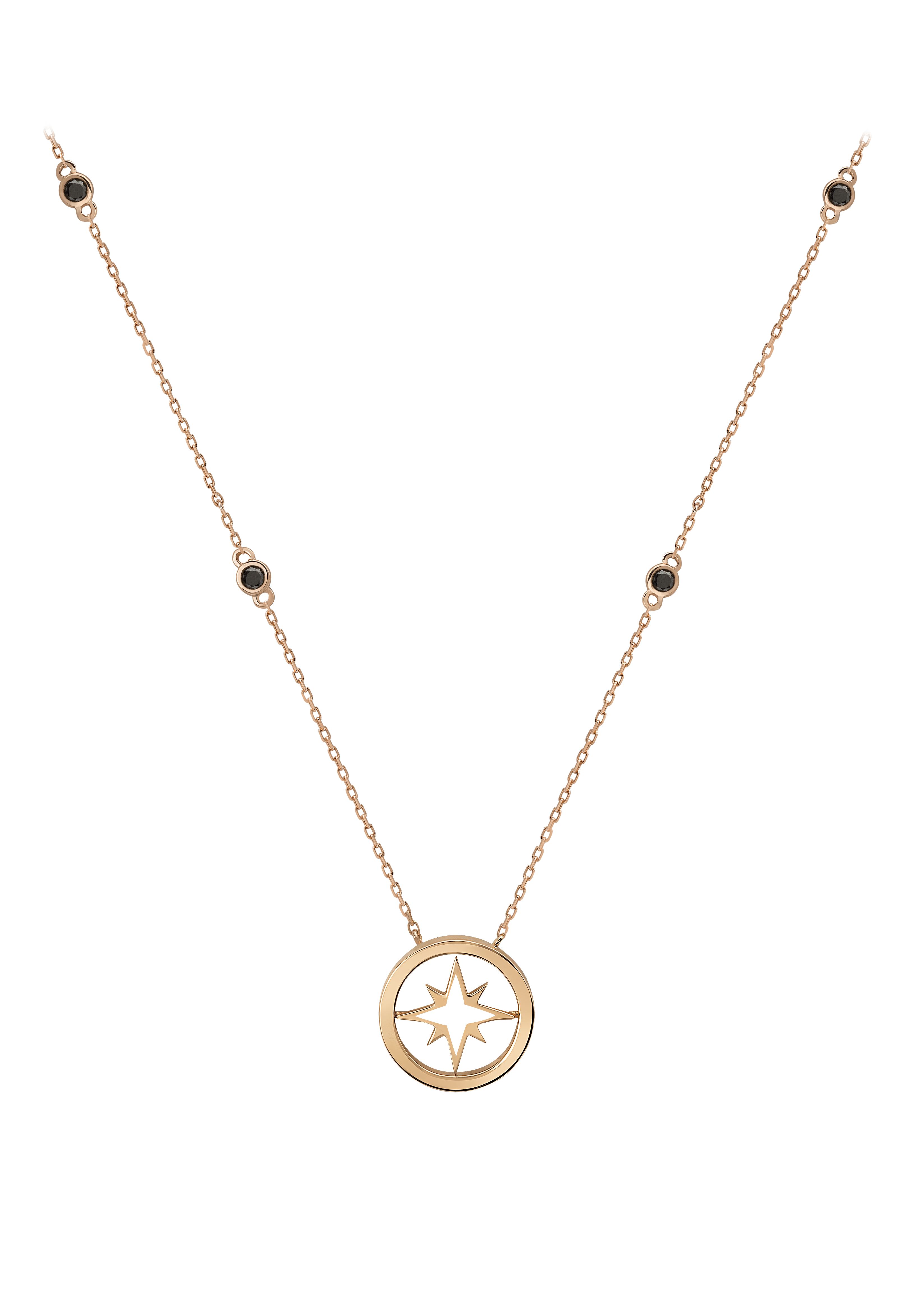 Nova Necklace - Black Diamonds, 18K Rose Gold by Aveen on curated-crowd.com