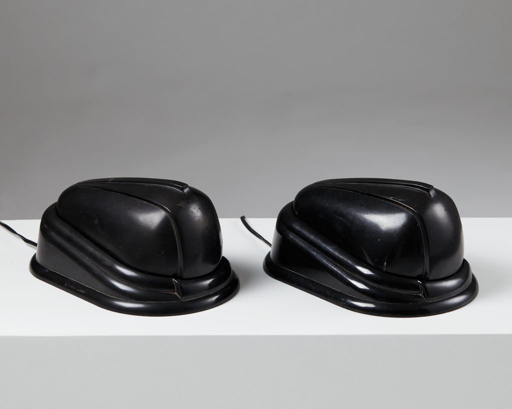 """Pair of Table Lamps """"Bolide"""" designed by Jumo Brevete for Jumo, France 1940's by Modernity on curated-crowd.com"""