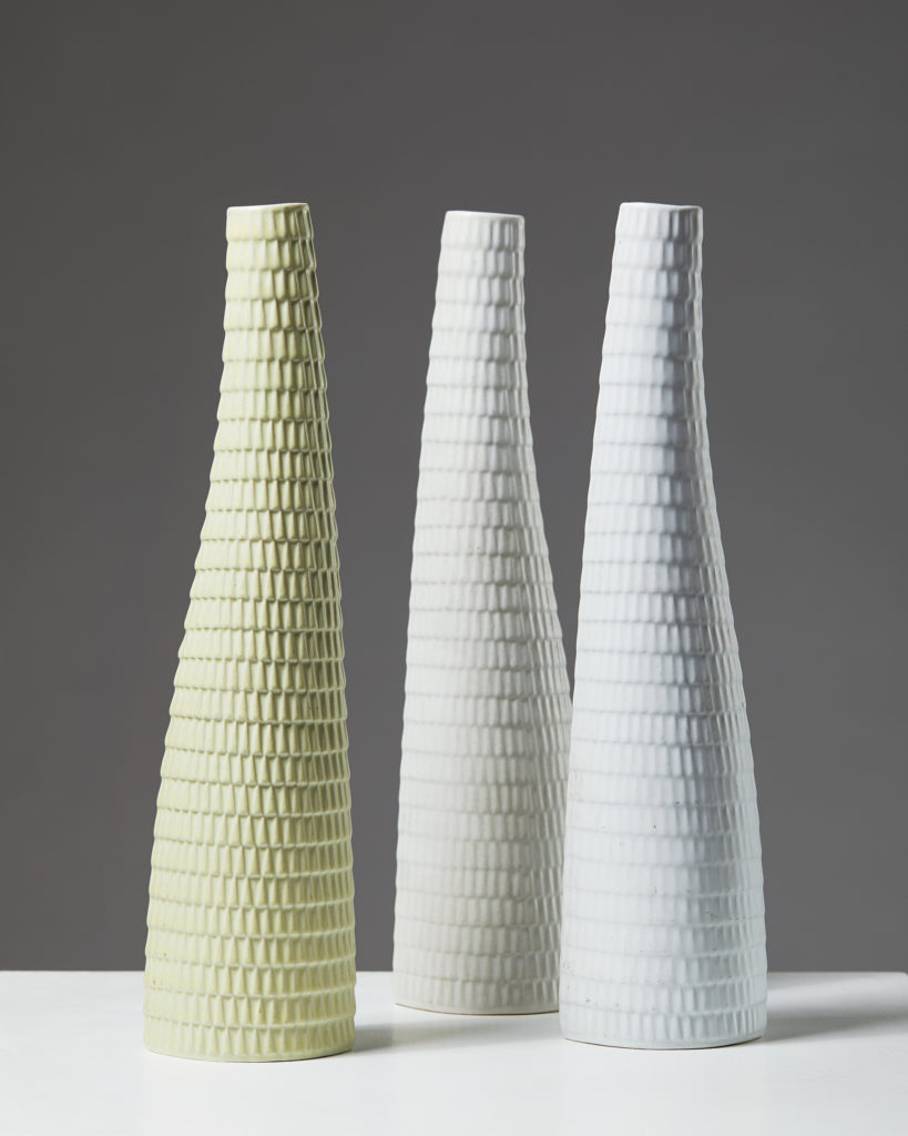 """Set of Three """"Reptil"""" Vases designed by Stig Lindberg for Gustavsberg, Sweden. 1950's. by Modernity on curated-crowd.com"""