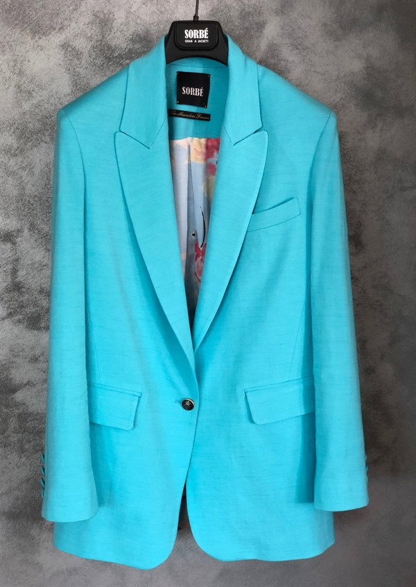 1 Button Mono Oversized Jacket - Baby Blue by Sorbé on curated-crowd.com