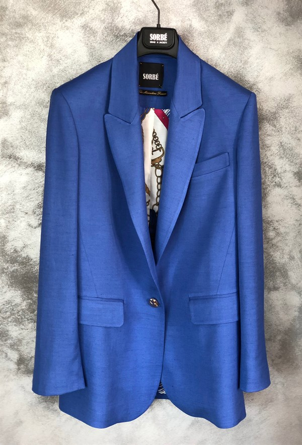 1 Button Mono Oversize Jacket - Sax Blue by Sorbé on curated-crowd.com