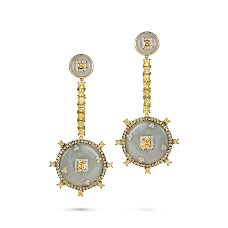 Celeste Yellow Sapphire and Jade Earrings by Nadine Aysoy on curated-crowd.com