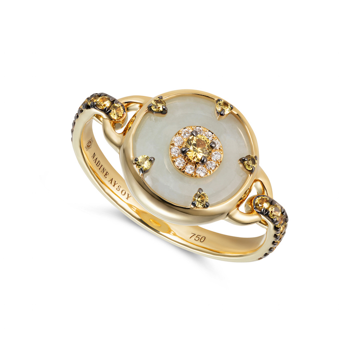 Celeste Petite Yellow Sapphire and Jade Ring by Nadine Aysoy on curated-crowd.com