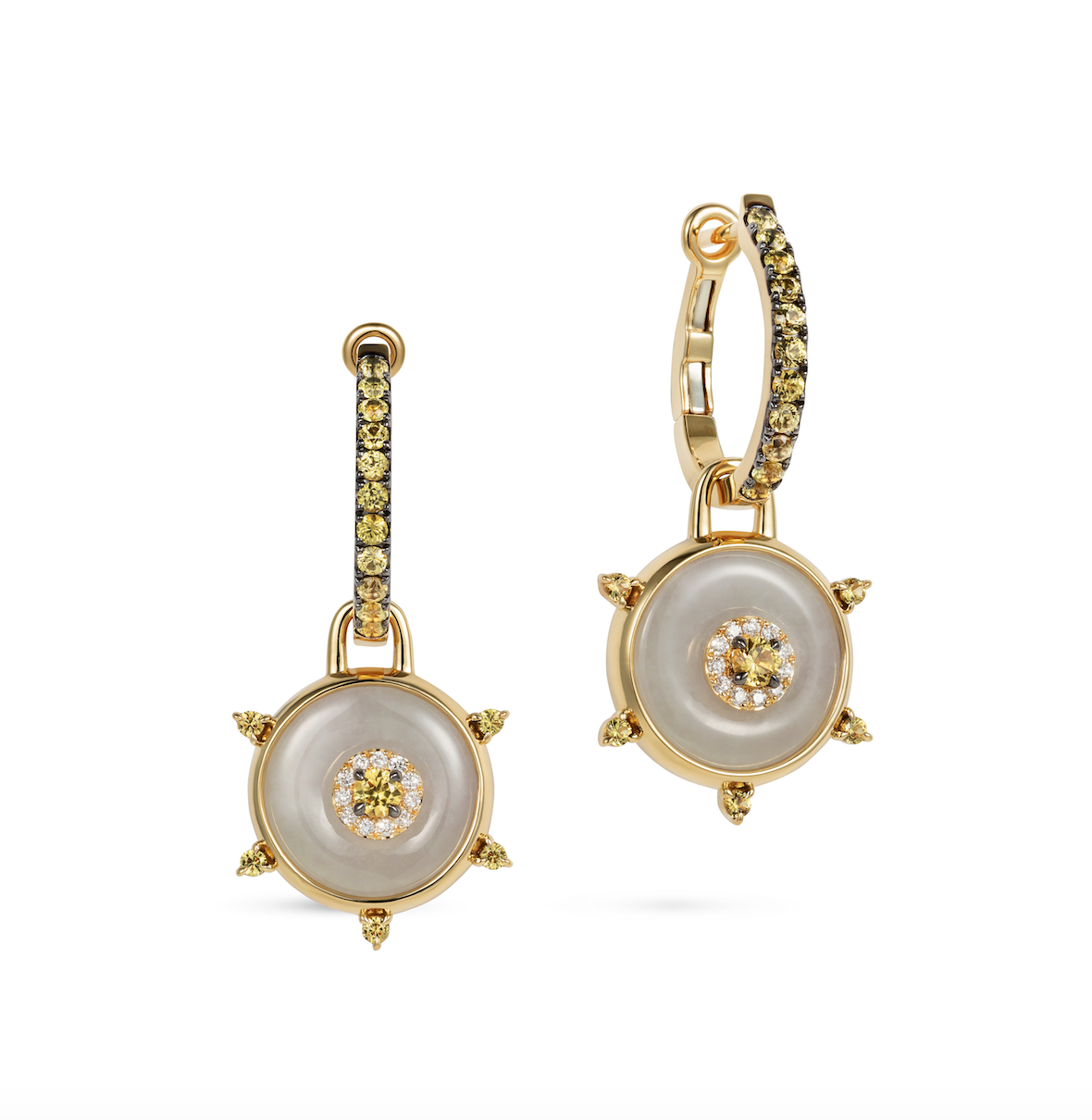 Celeste Yellow Sapphire and Jade Huggie Earrings by Nadine Aysoy on curated-crowd.com