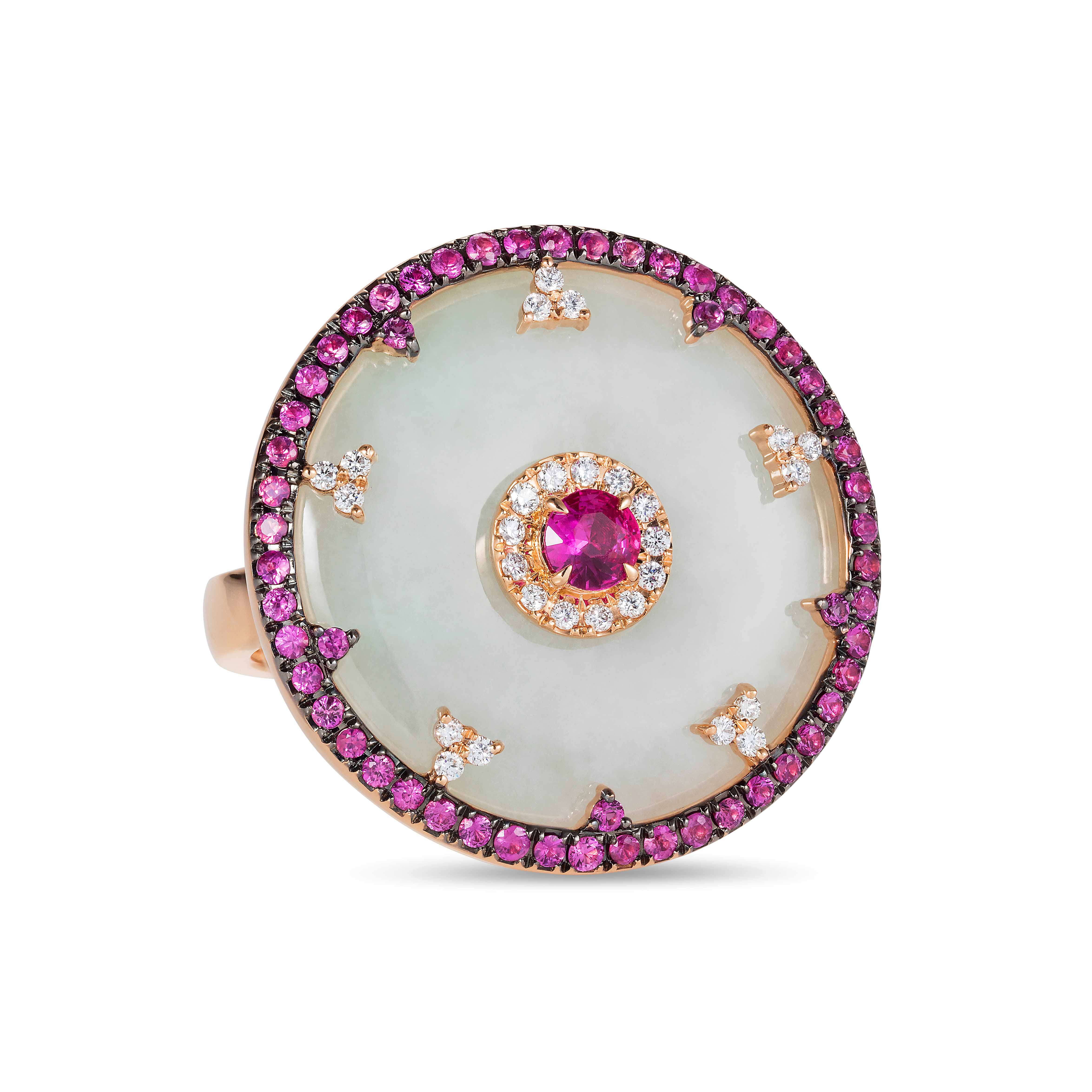 Celeste Pink Sapphire and Jade Ring by Nadine Aysoy on curated-crowd.com
