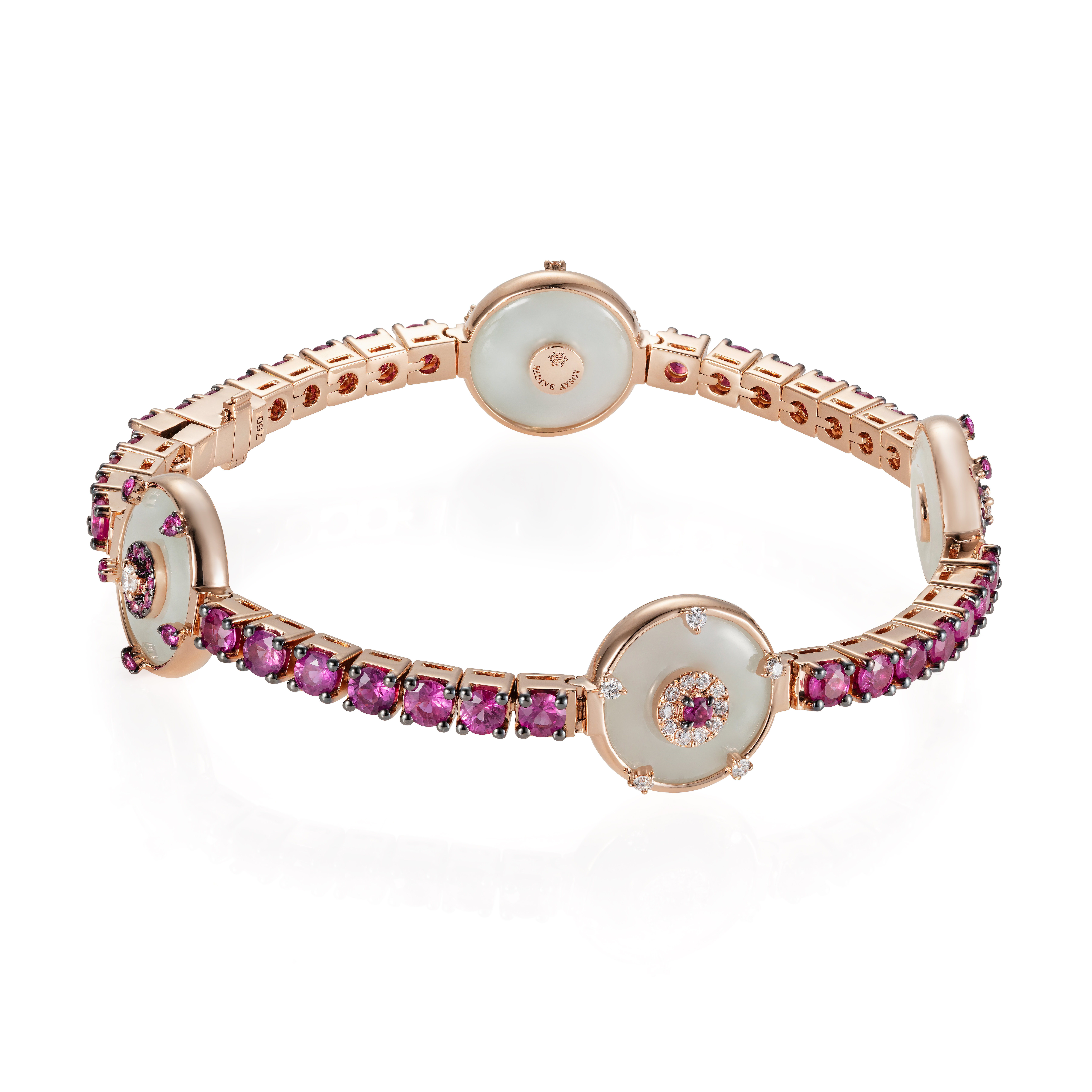 Celeste Pink Sapphire and Jade Bracelet by Nadine Aysoy on curated-crowd.com