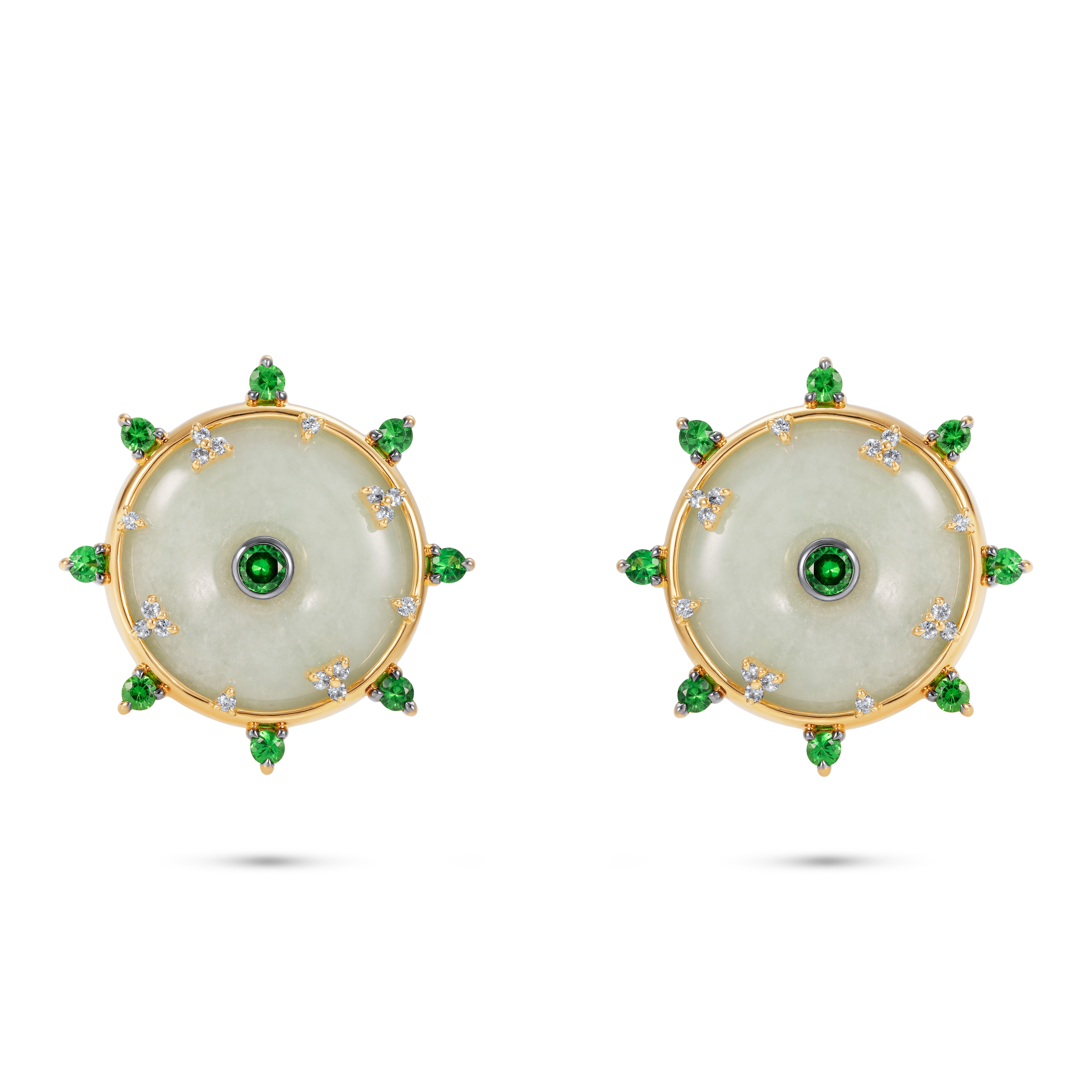 Celeste Tsavorite and Jade Earrings by Nadine Aysoy on curated-crowd.com
