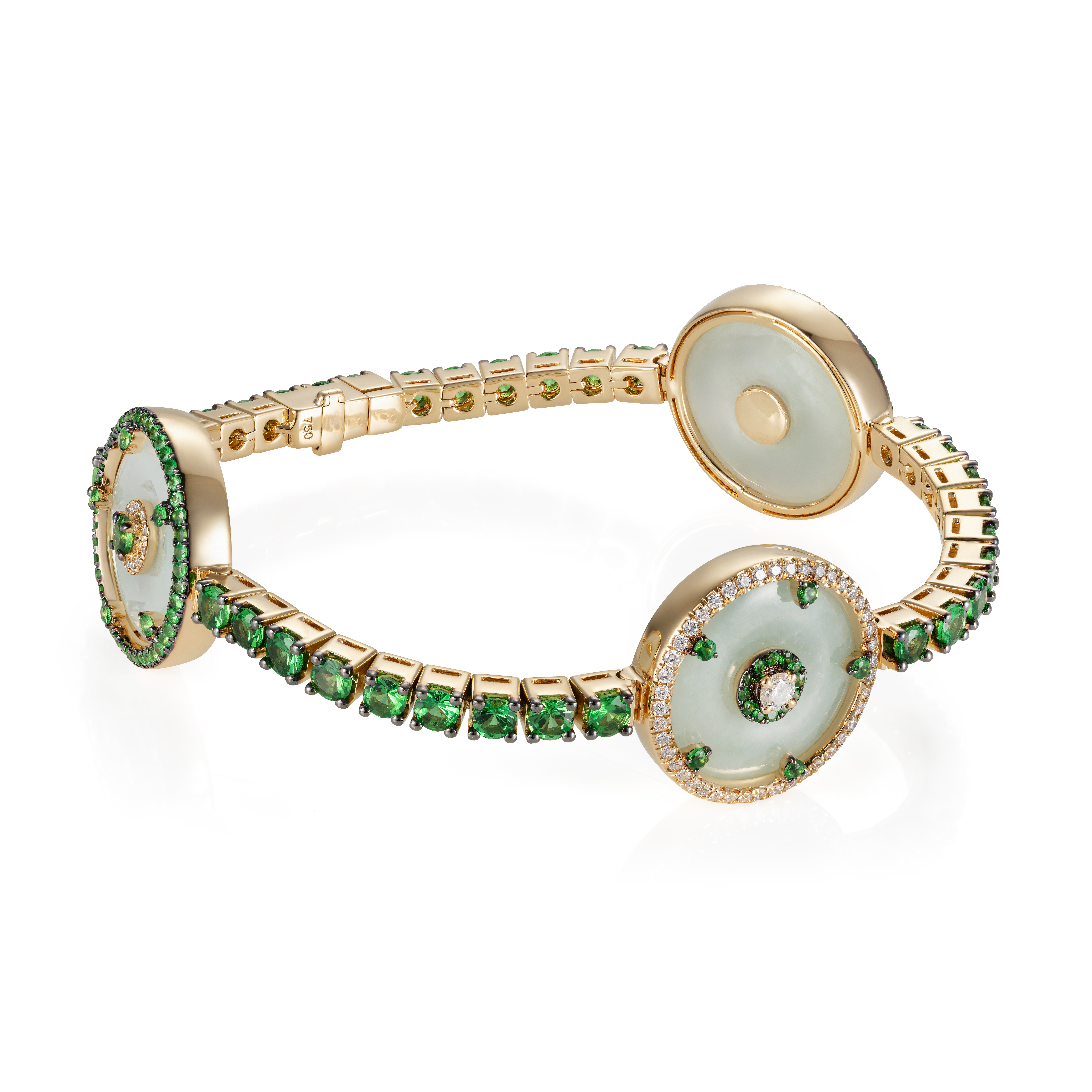Celeste Tsavorite and 3 Jade Discs Bracelet by Nadine Aysoy on curated-crowd.com