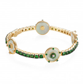 Celeste Tsavorite and 4 Jade Discs Bracelet by Nadine Aysoy on curated-crowd.com