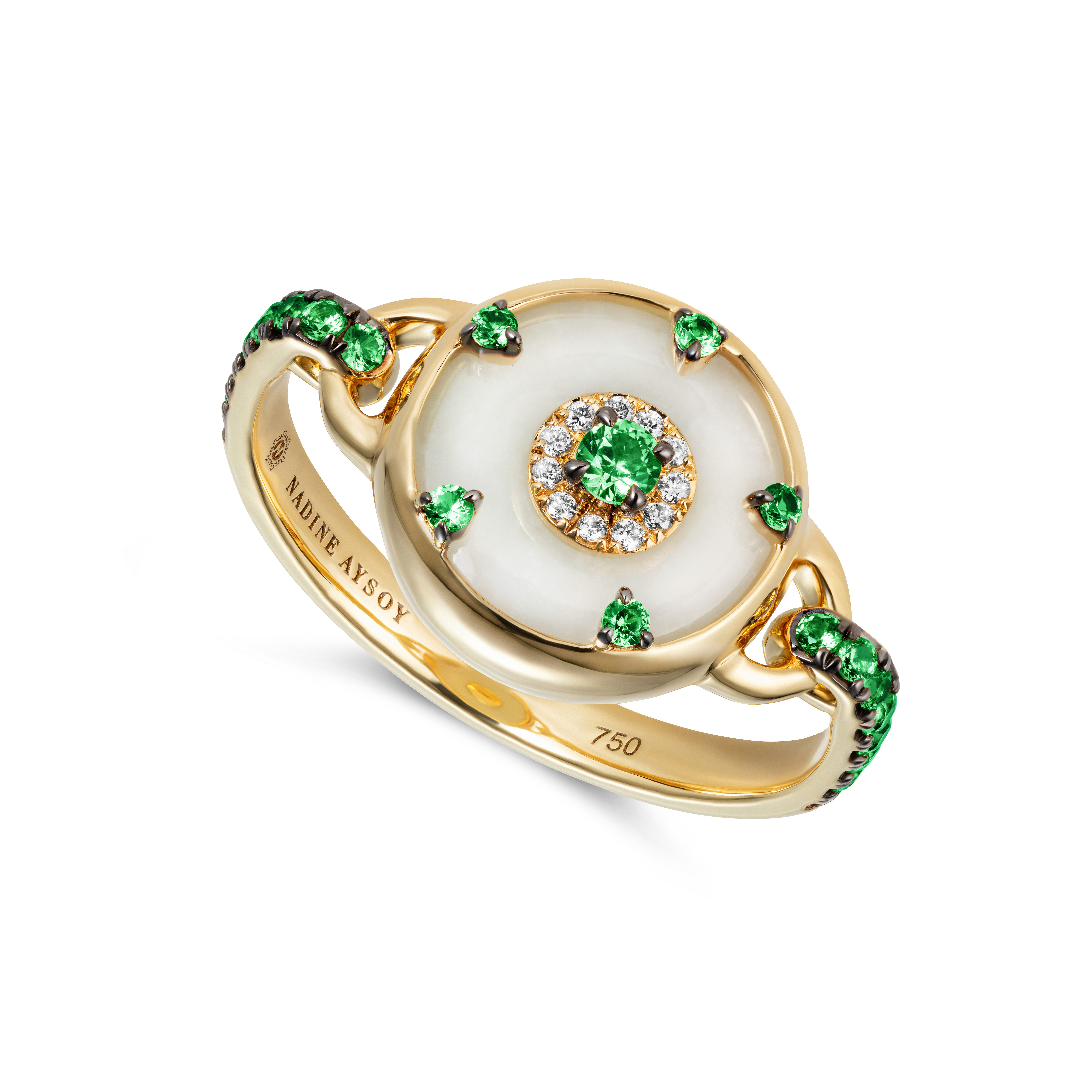 Celeste Petite Tsavorite and Jade Ring by Nadine Aysoy on curated-crowd.com