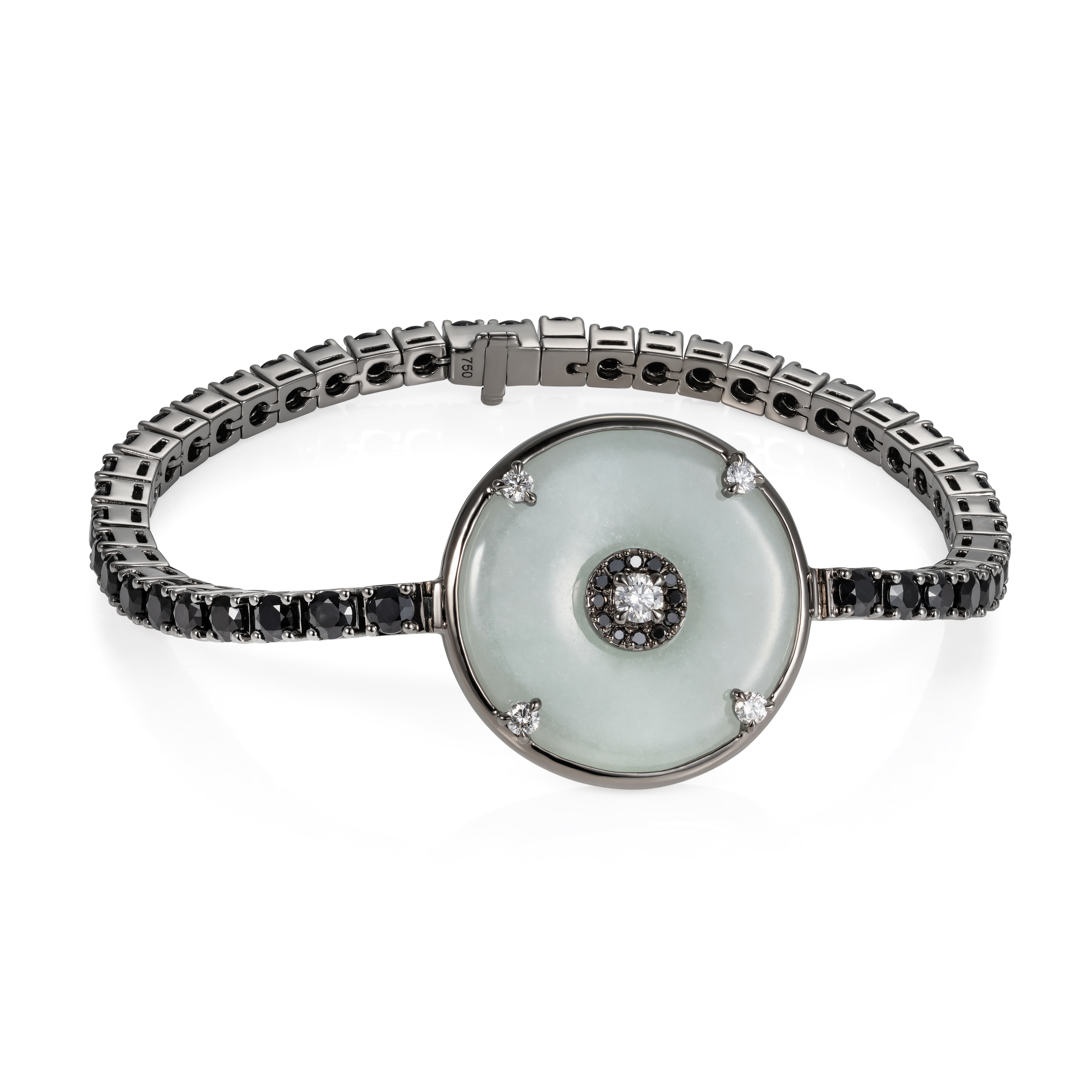 Celeste Black Diamond, Sapphire and Jade Bracelet by Nadine Aysoy on curated-crowd.com