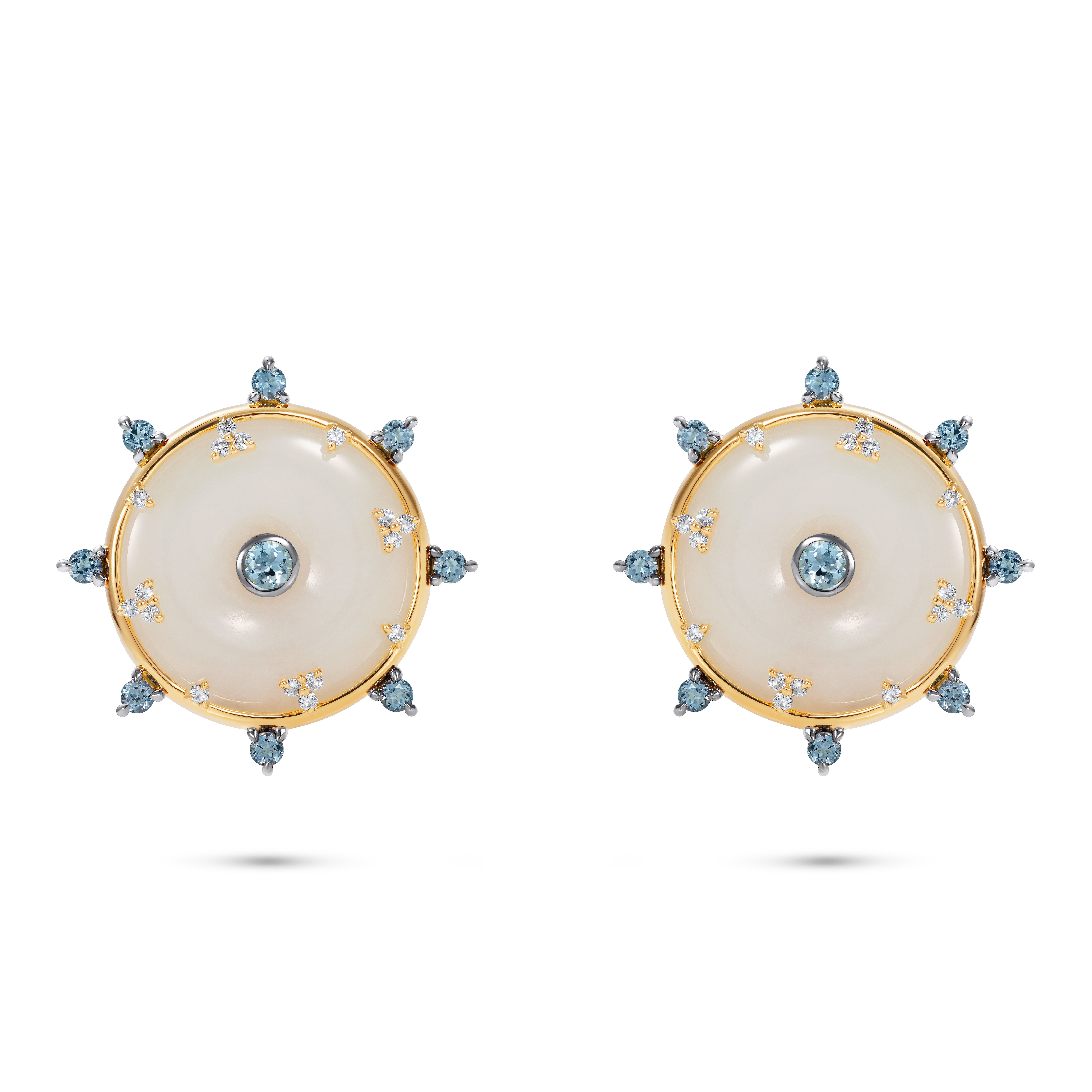 Celeste Aquamarine and Jade Studs by Nadine Aysoy on curated-crowd.com