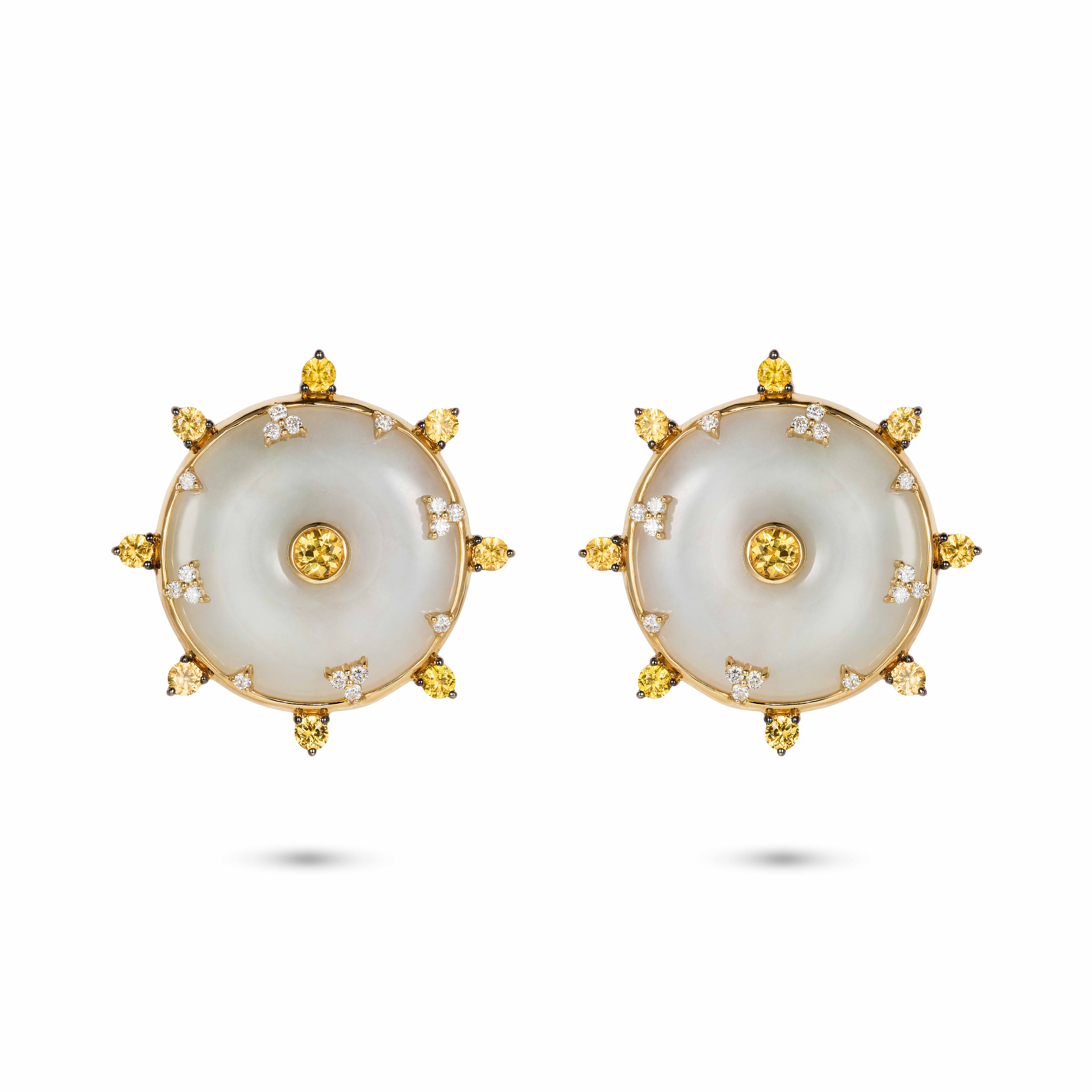 Celeste Yellow Sapphire and Jade Studs by Nadine Aysoy on curated-crowd.com