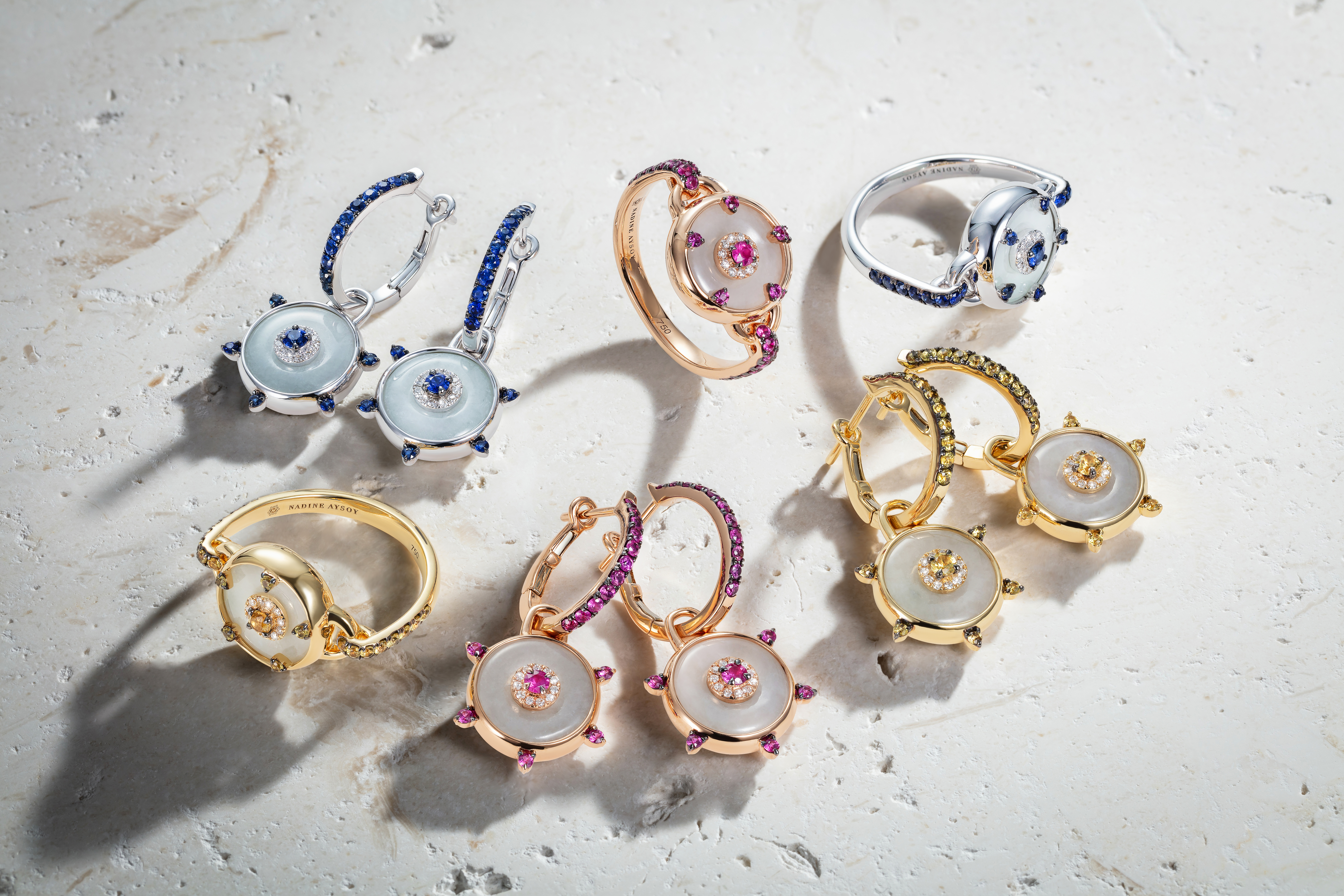 Celeste Pink Sapphire and Jade Huggie Earrings by Nadine Aysoy on curated-crowd.com