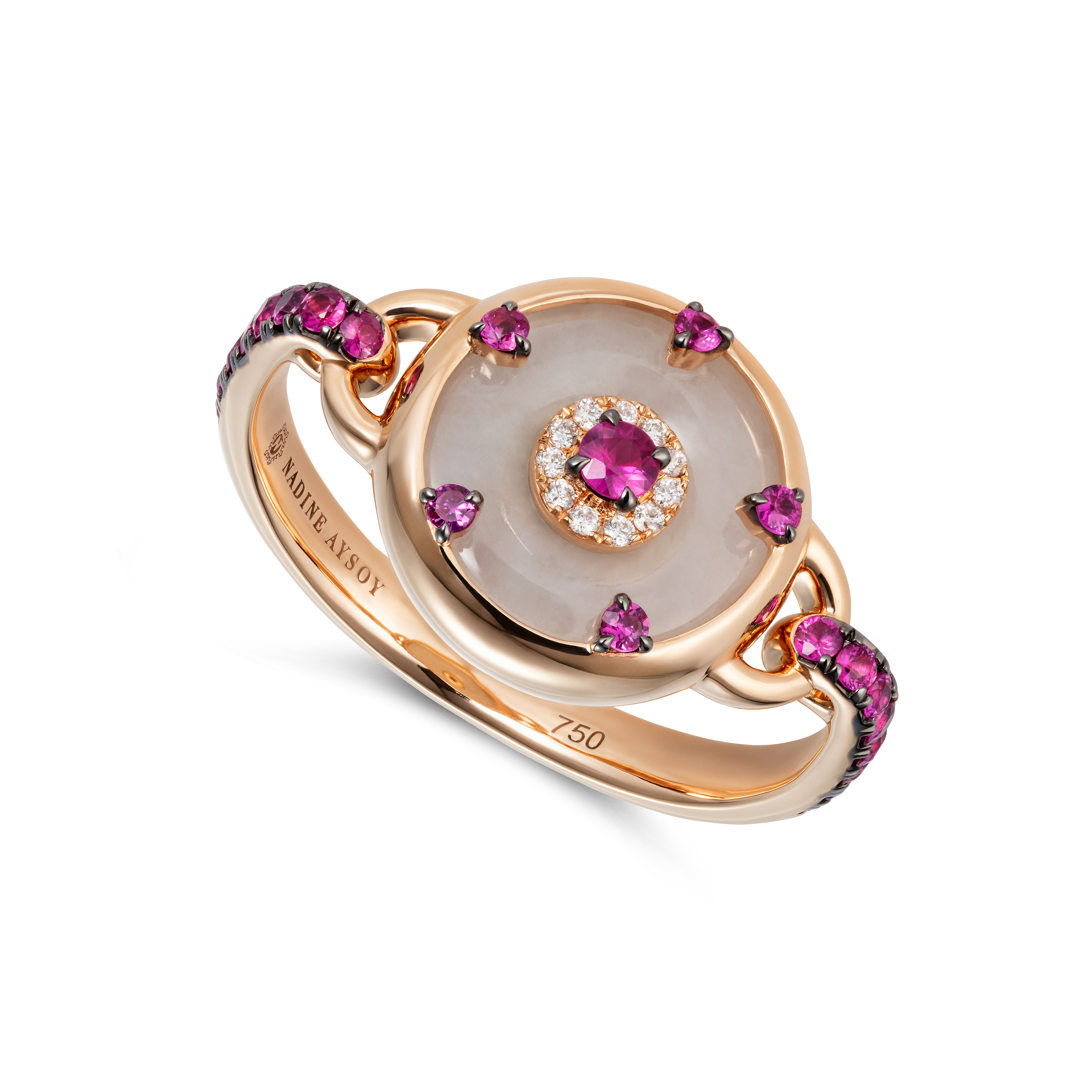 Celeste Petite Pink Sapphire Ring by Nadine Aysoy on curated-crowd.com