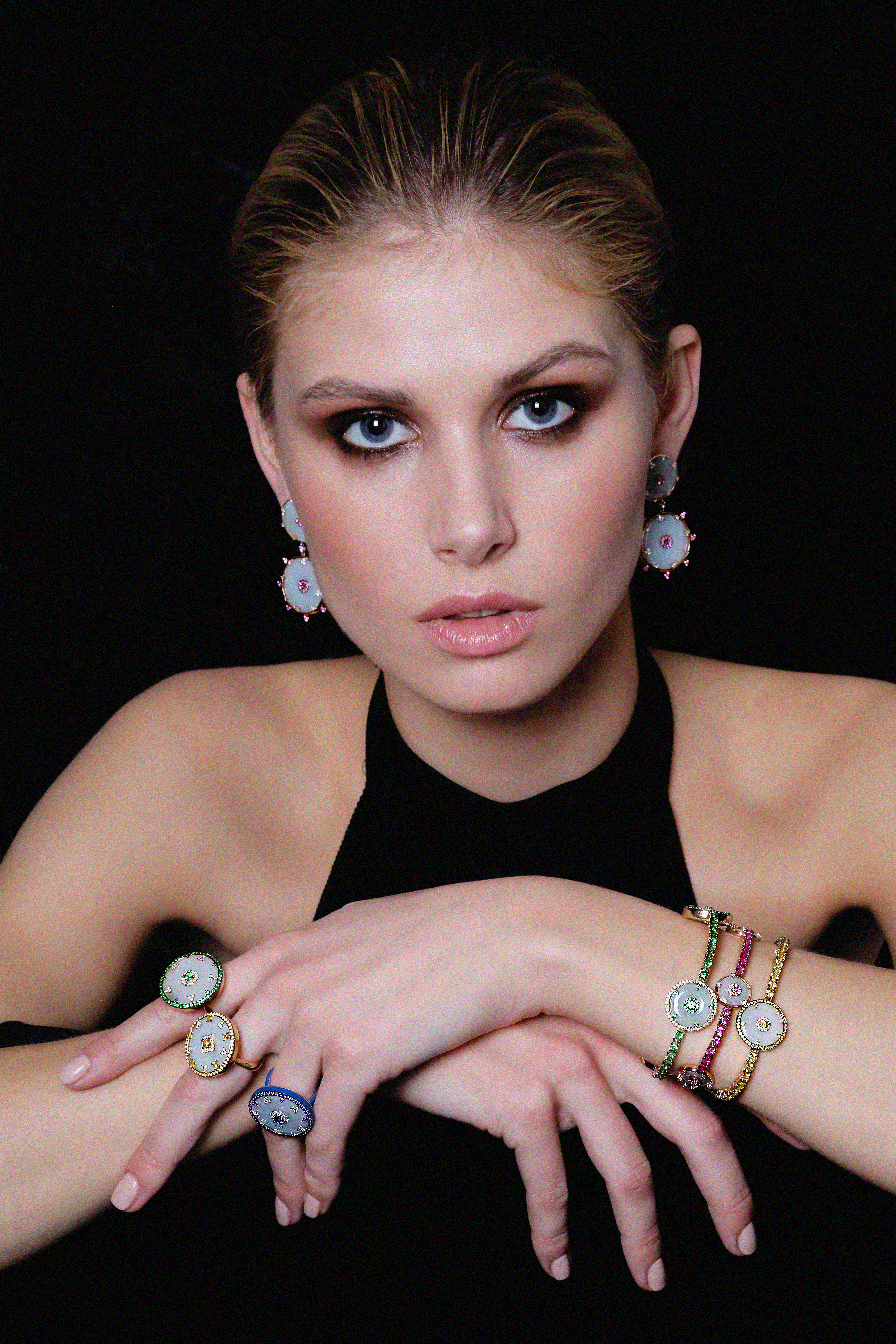 Celeste Tsavorite and Jade Ring by Nadine Aysoy on curated-crowd.com