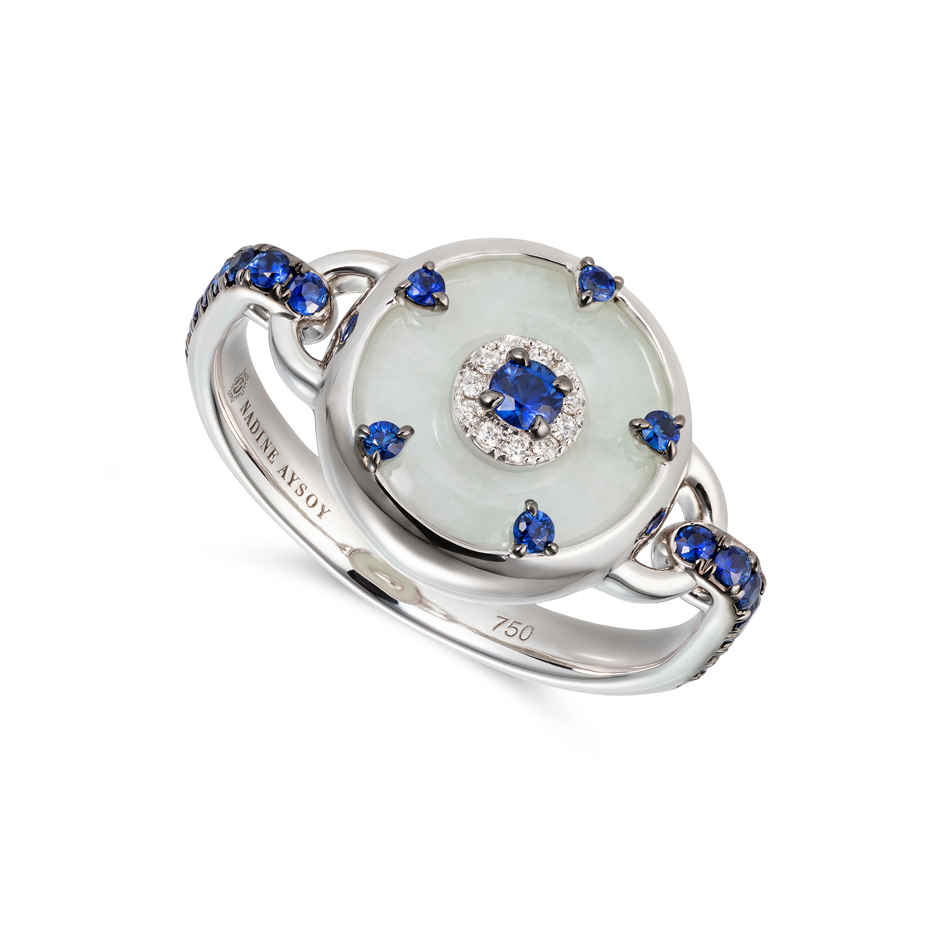 Celeste Petite Blue Sapphire and Jade Ring by Nadine Aysoy on curated-crowd.com