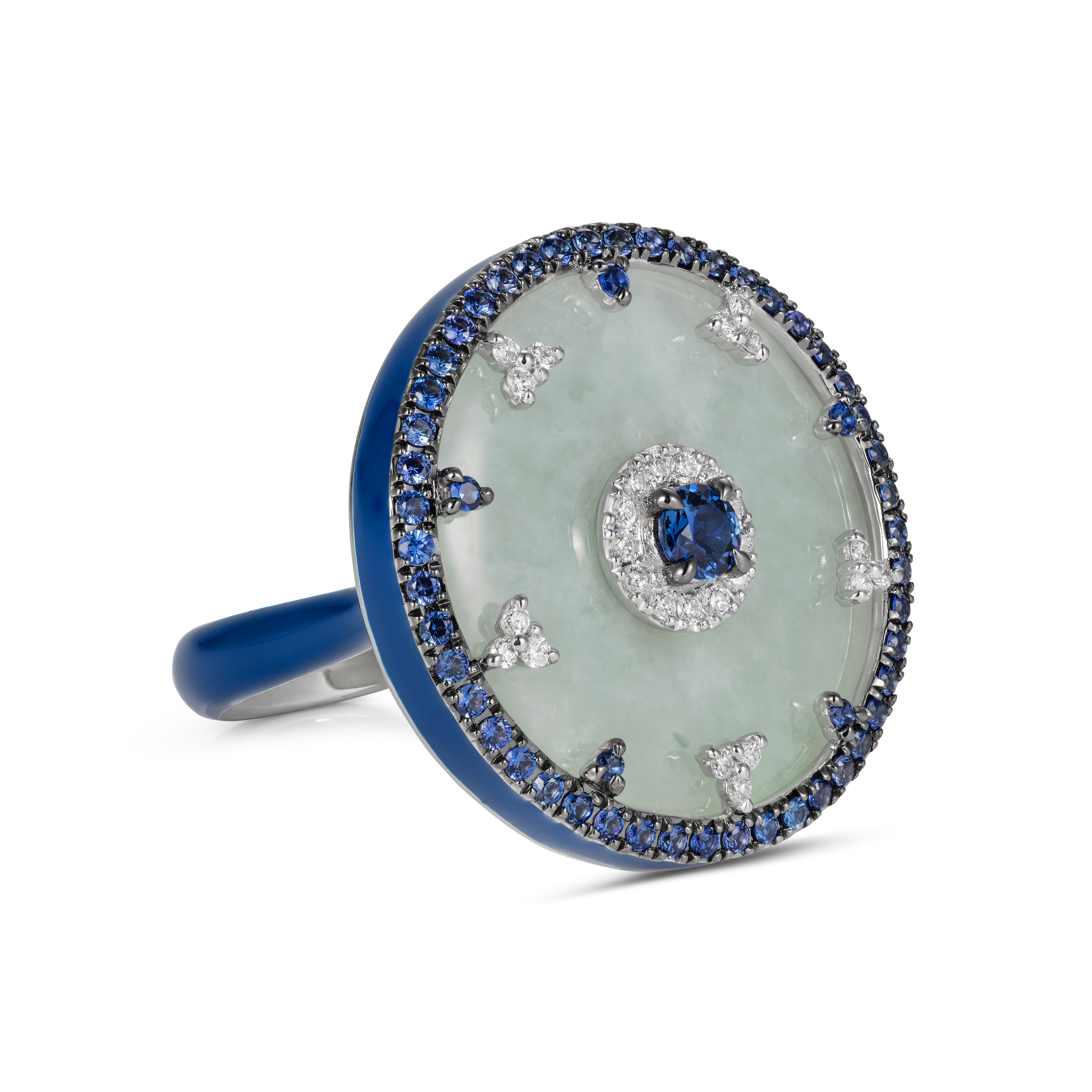 Celeste Blue Sapphire and Jade Ring by Nadine Aysoy on curated-crowd.com