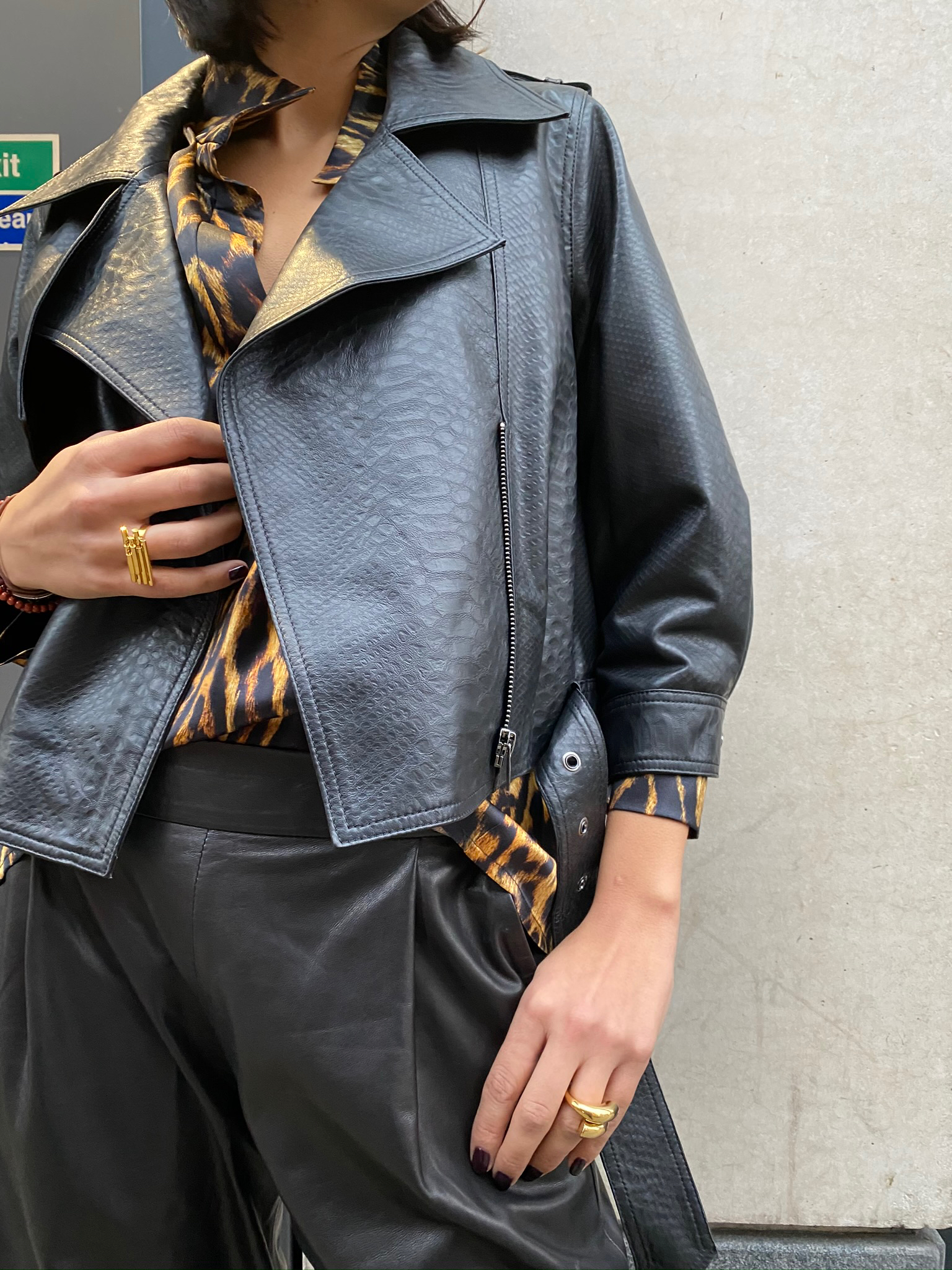 Python-Embossed Leather Jacket by The Ruf on curated-crowd.com
