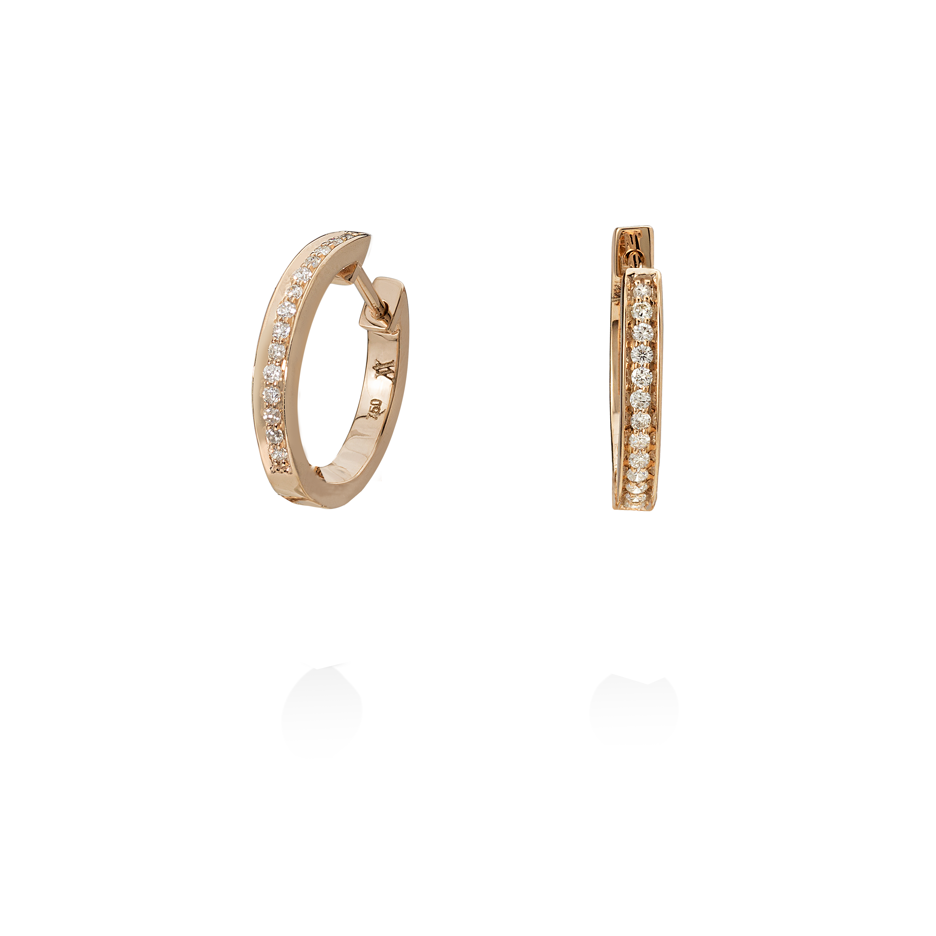 Single Diamond Hoops with Detachable Diamond Charm/Pendant- 18K Rose Gold by Aveen on curated-crowd.com