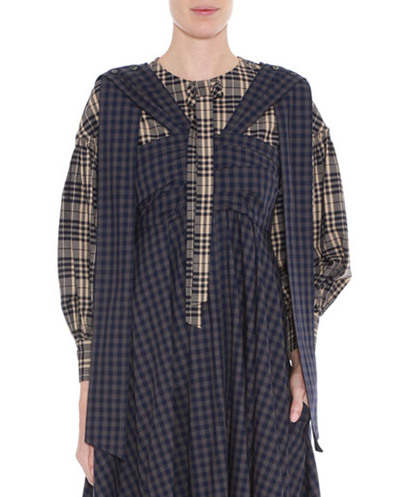 Check Puff Sleeve Blouse by Teija on curated-crowd.com