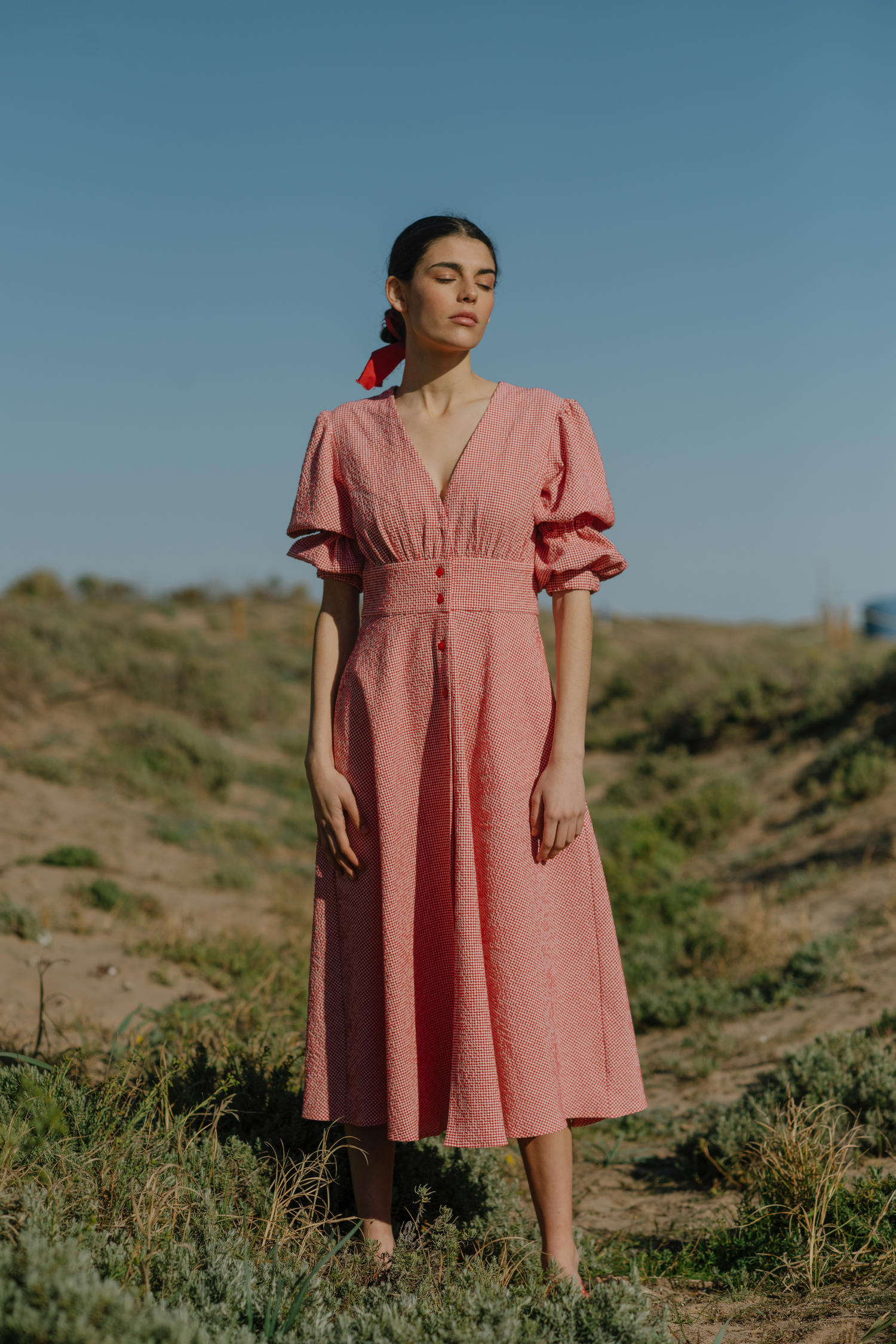 Valencia Dress - Red Gingham by Berta Cabestany on curated-crowd.com