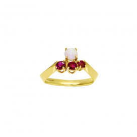 Ruby and Opal Gold Neutron Ring by Daou Jewellery on curated-crowd.com