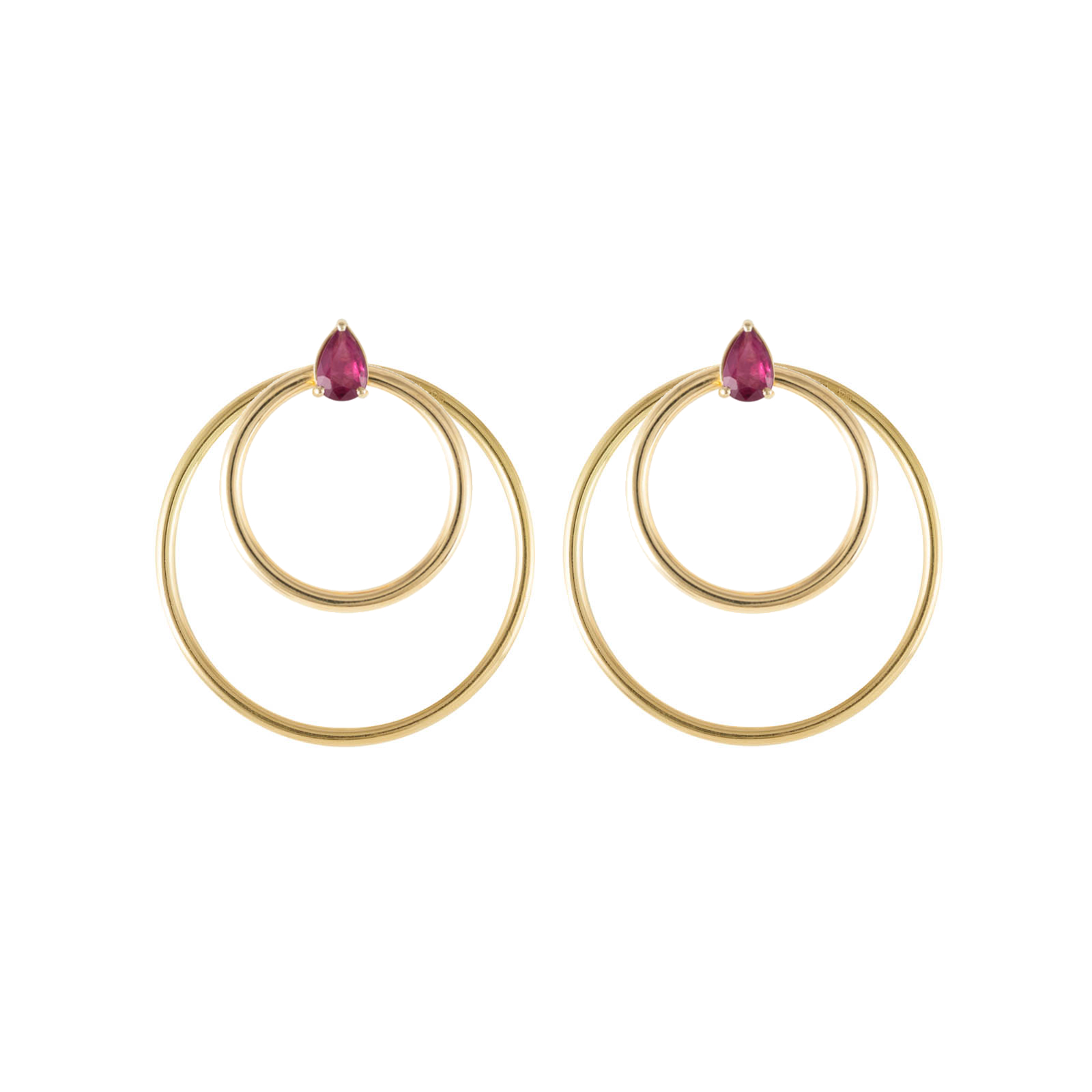 Convertible Double Gold Hoop Orbit Earrings – Ruby by Daou Jewellery on curated-crowd.com
