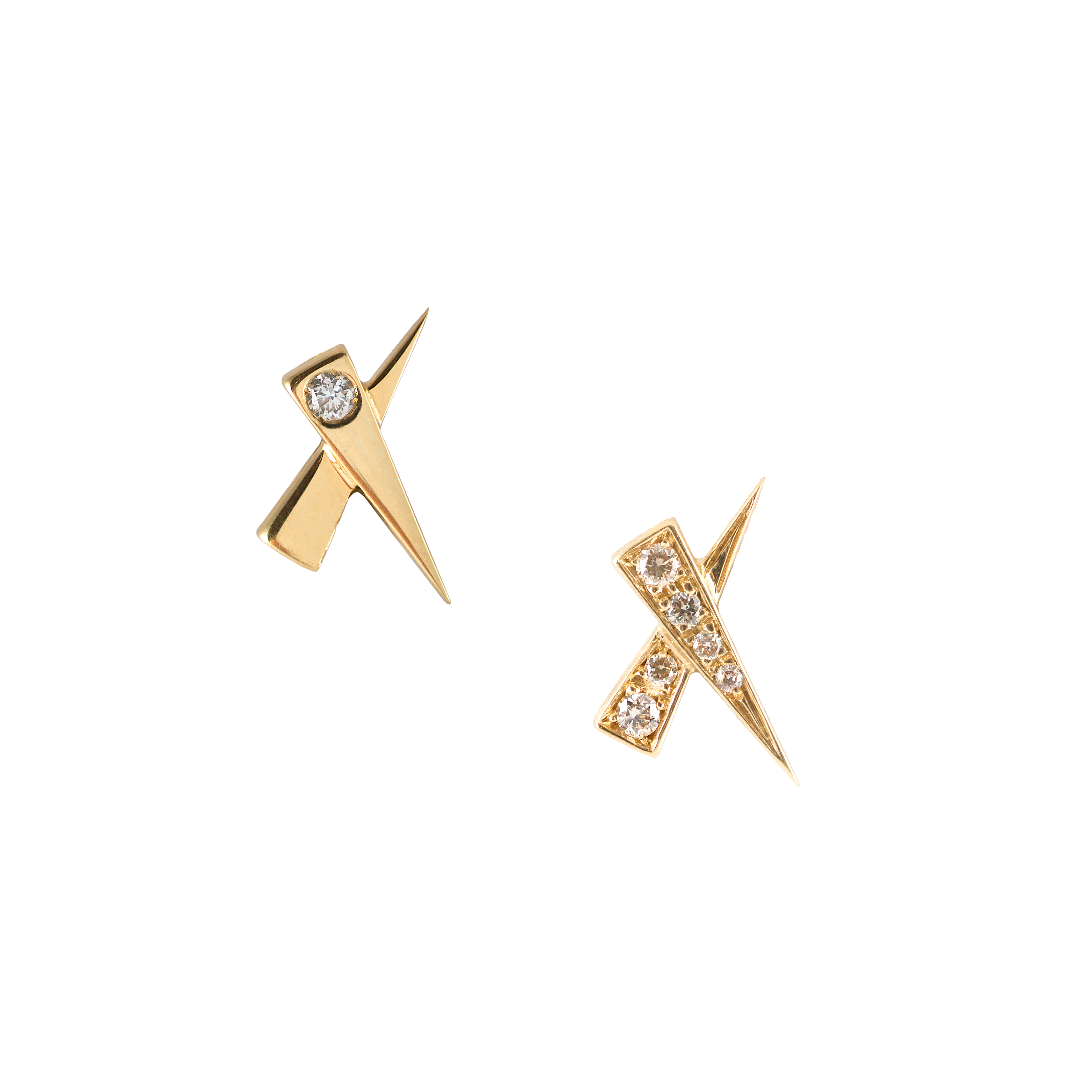 Single Diamond Pave Kiss Gold Earring by Daou Jewellery on curated-crowd.com