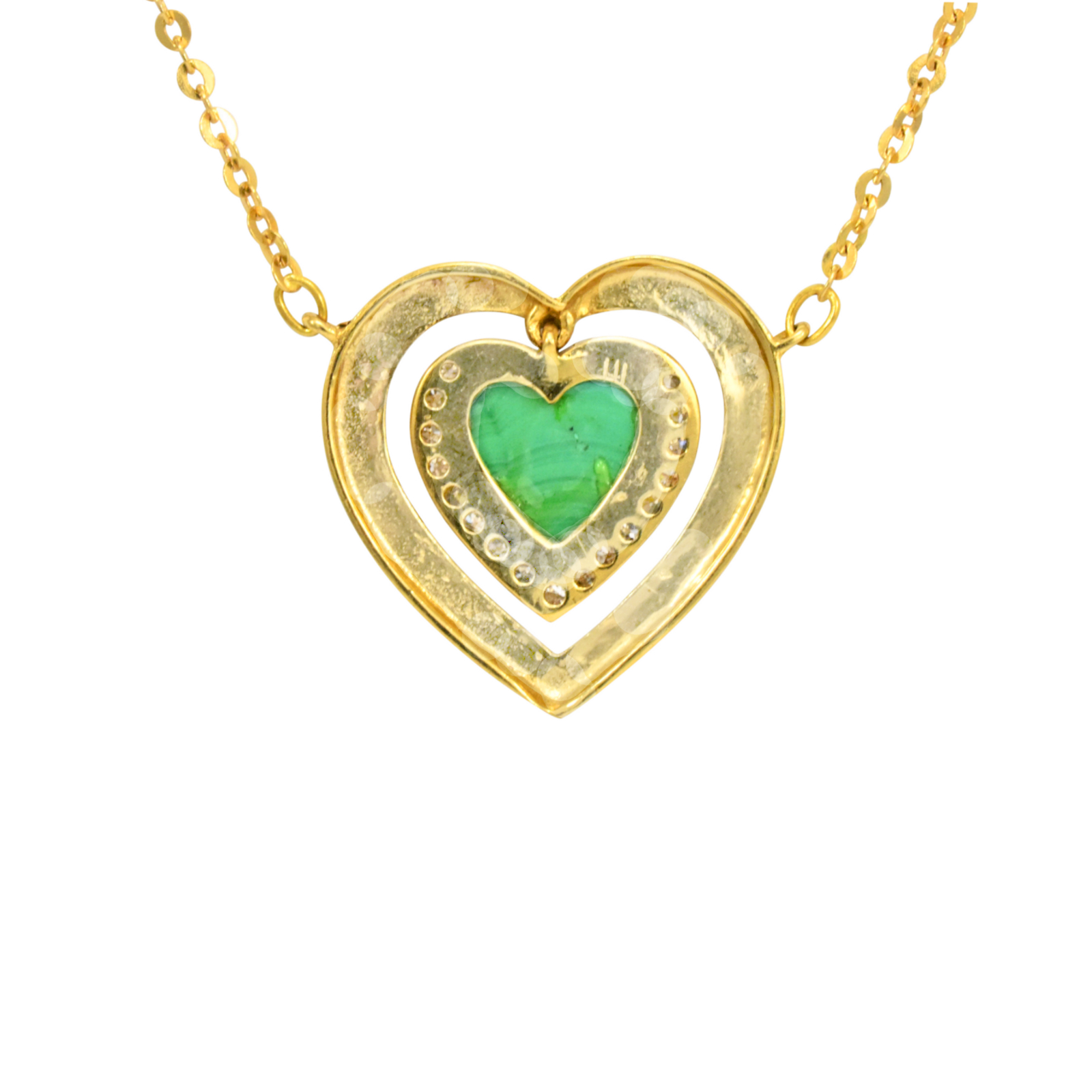 Malachite Diamond Framed Heart Pendant by Daou Jewellery on curated-crowd.com