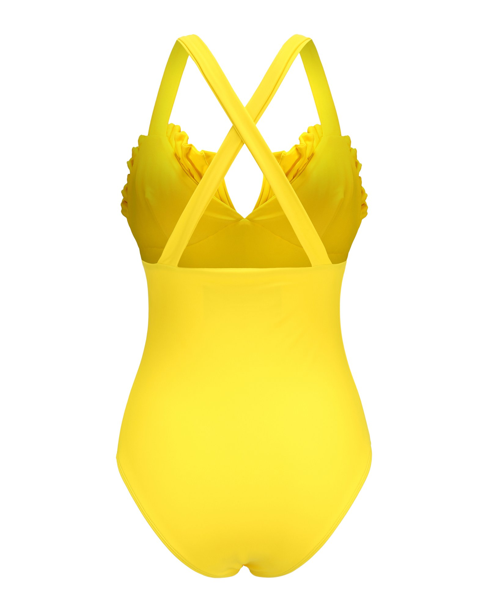 Shell Swimsuit in Aquaholic Yellow by PAPER London on curated-crowd.com