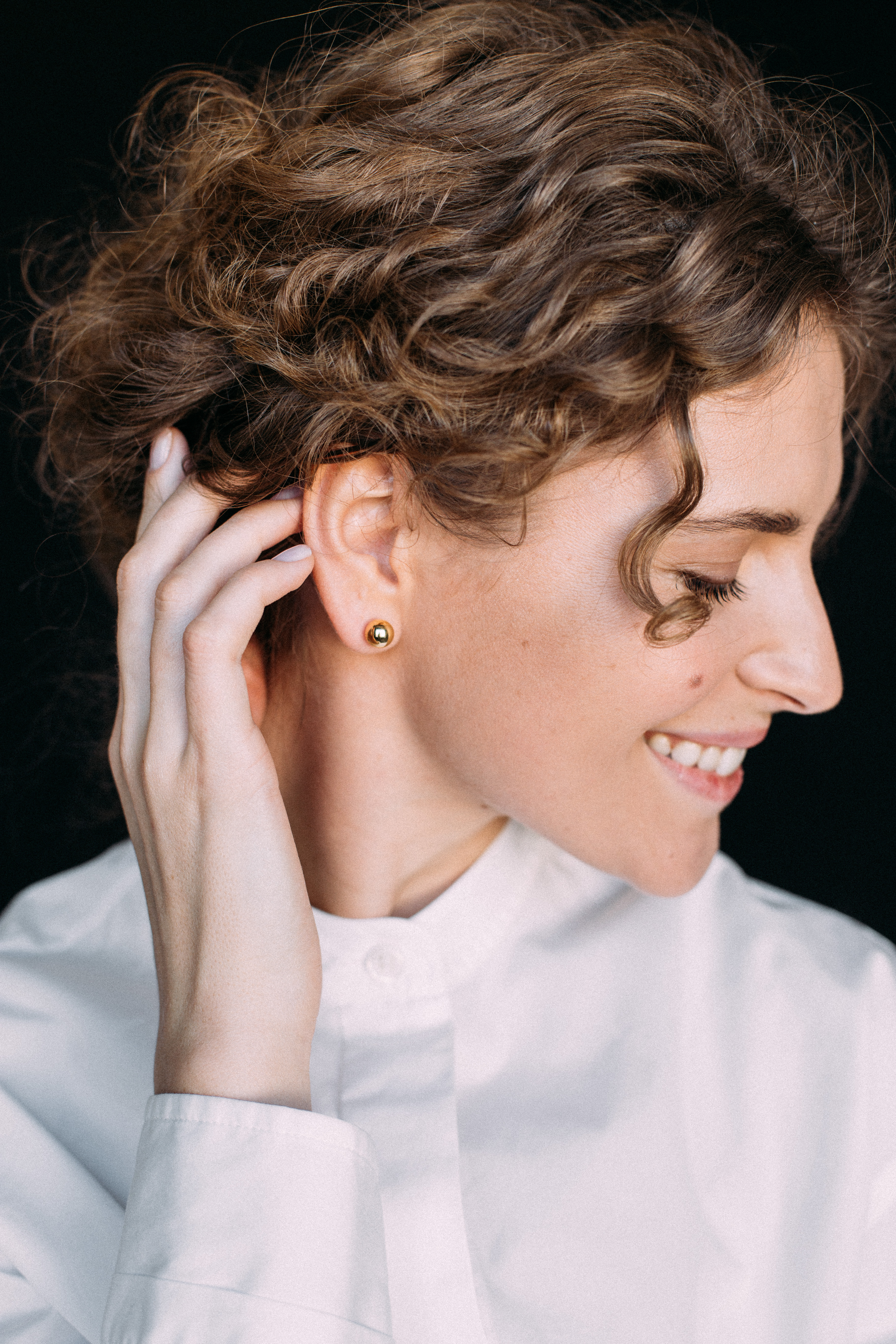 Middle Orb Earrings - Yellow Gold by Guzema Fine Jewellery on curated-crowd.com
