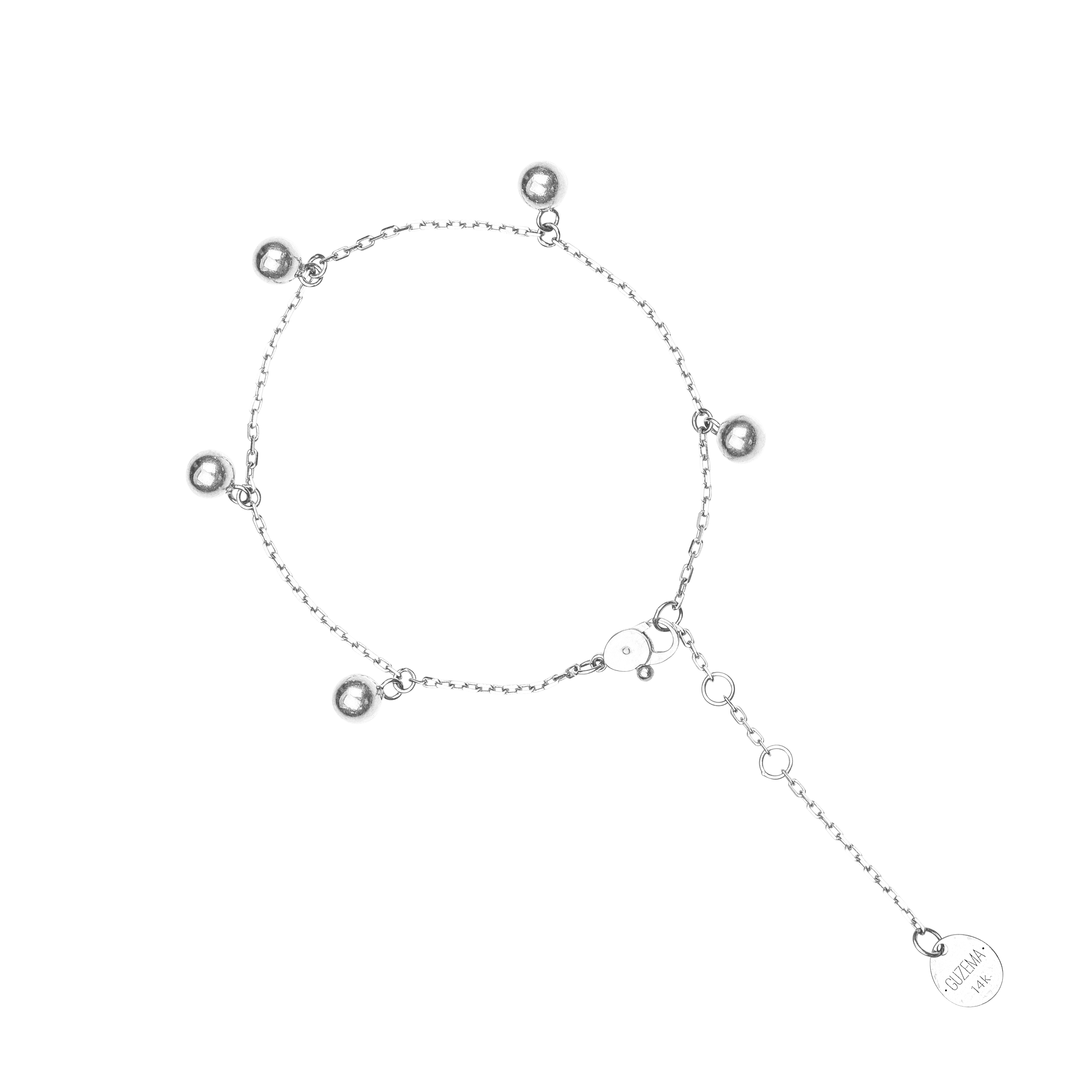 5 Orb Anklet - White Gold by Guzema Fine Jewellery on curated-crowd.com