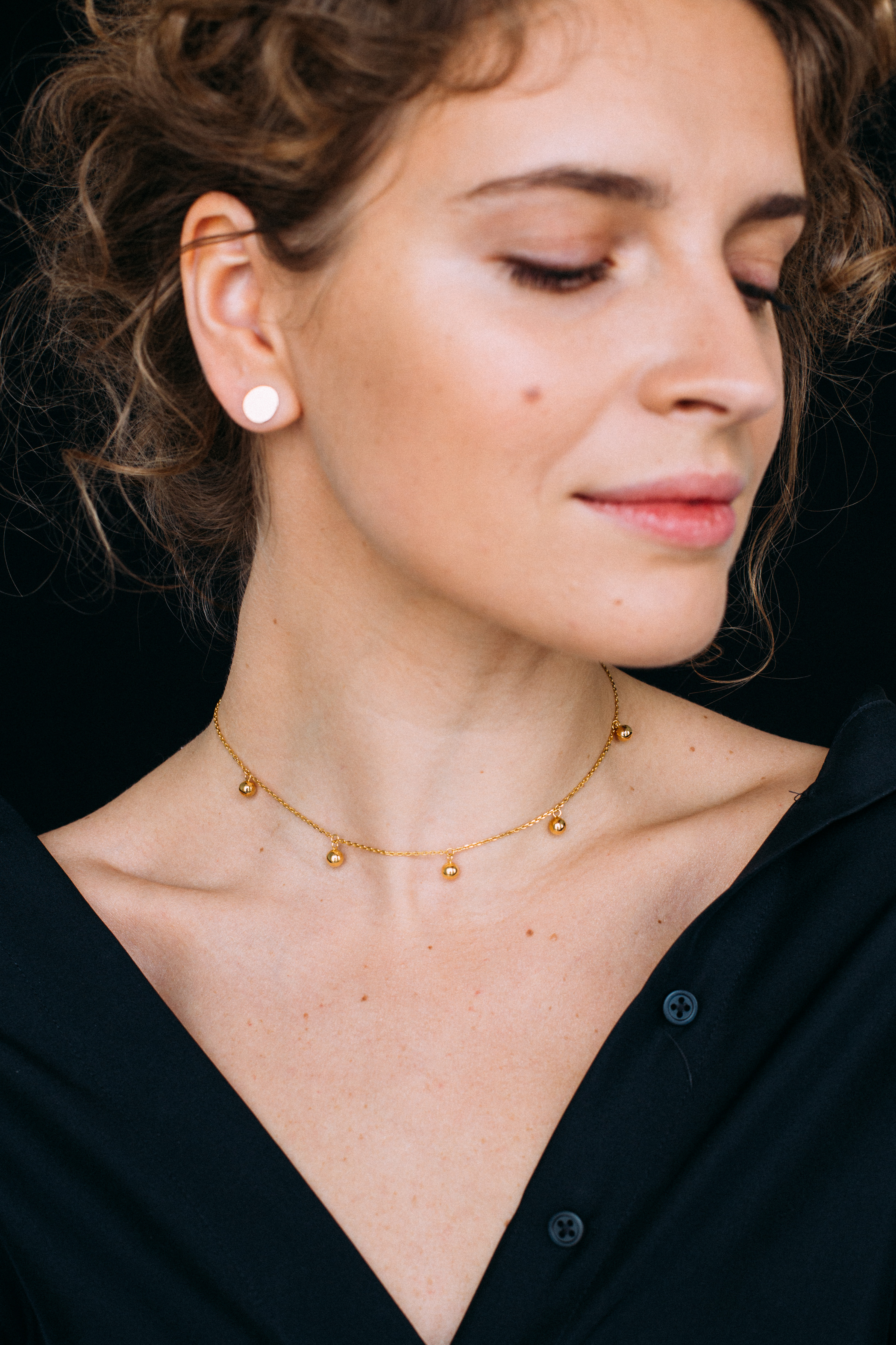 5 Balls Necklace - Yellow Gold by Guzema Fine Jewellery on curated-crowd.com